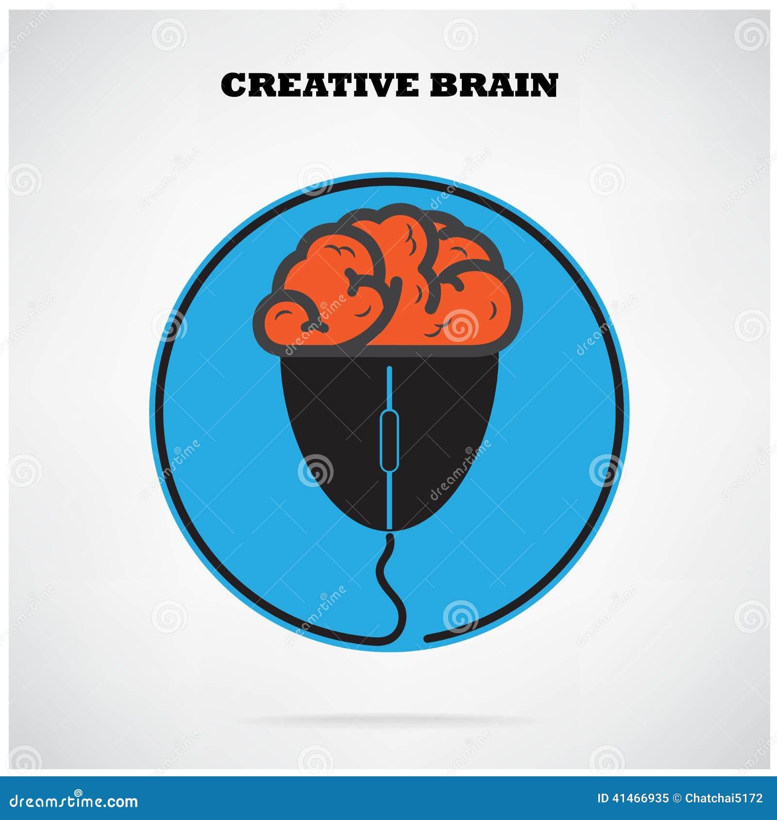 Het creatieve symbool van brian met het teken van de computermuis bedrijfs e n idee vector - Het upgraden van m ...