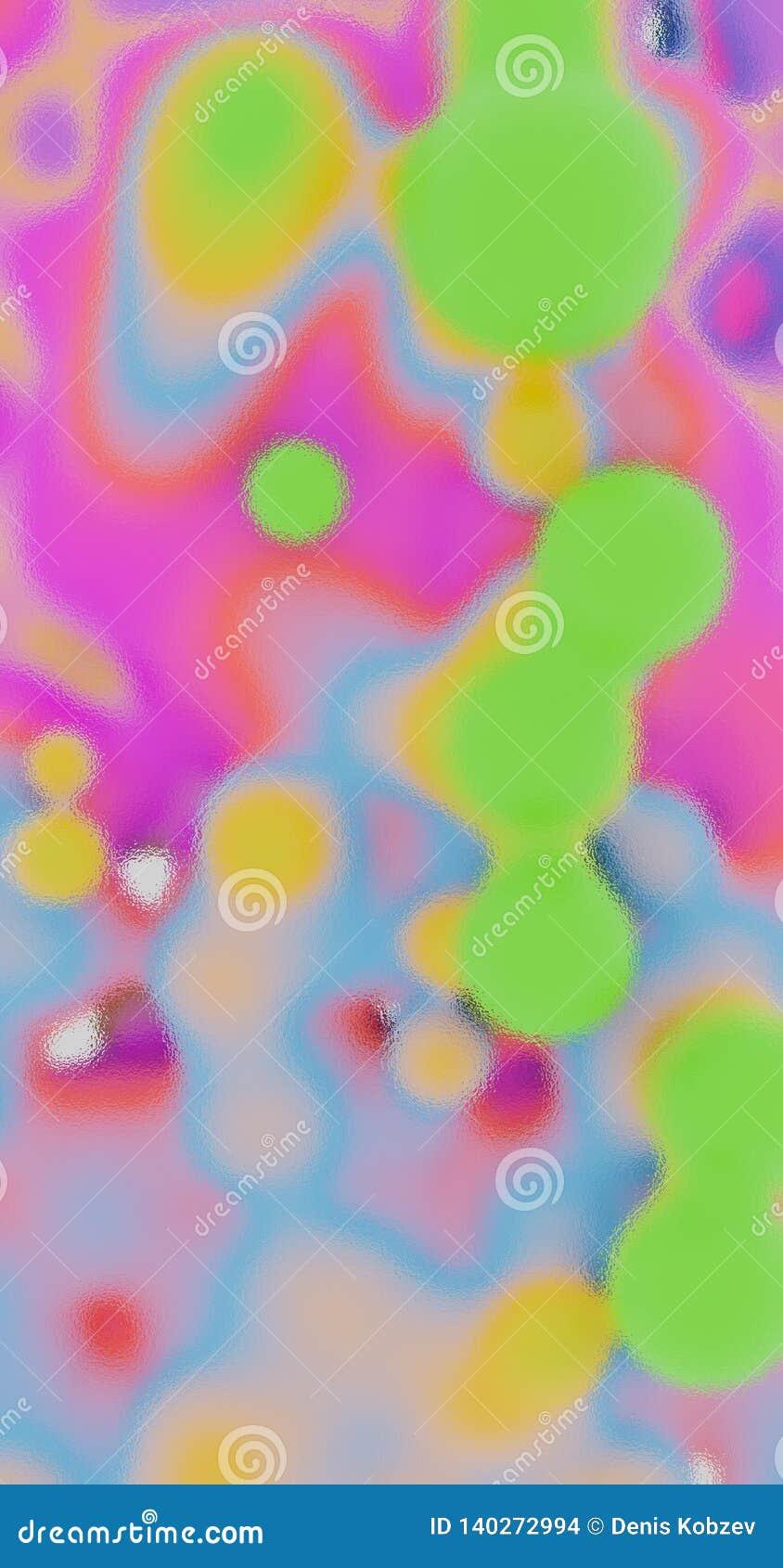 Het 3d teruggeven Abstracte illustratie van multi-colored bollen Kleverige vloeistof in nul ernst Achtergrond