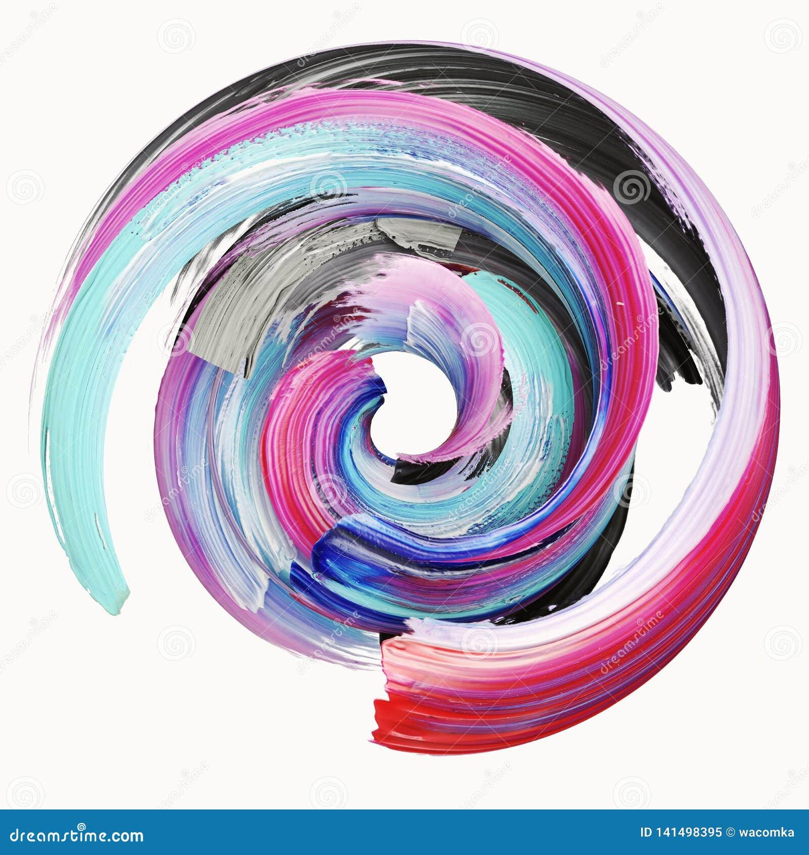 Het 3d teruggeven, abstracte verdraaide kwaststreek, verfplons, ploetert, kleurrijke cirkel, artistiek spiraalvormig, levendig di