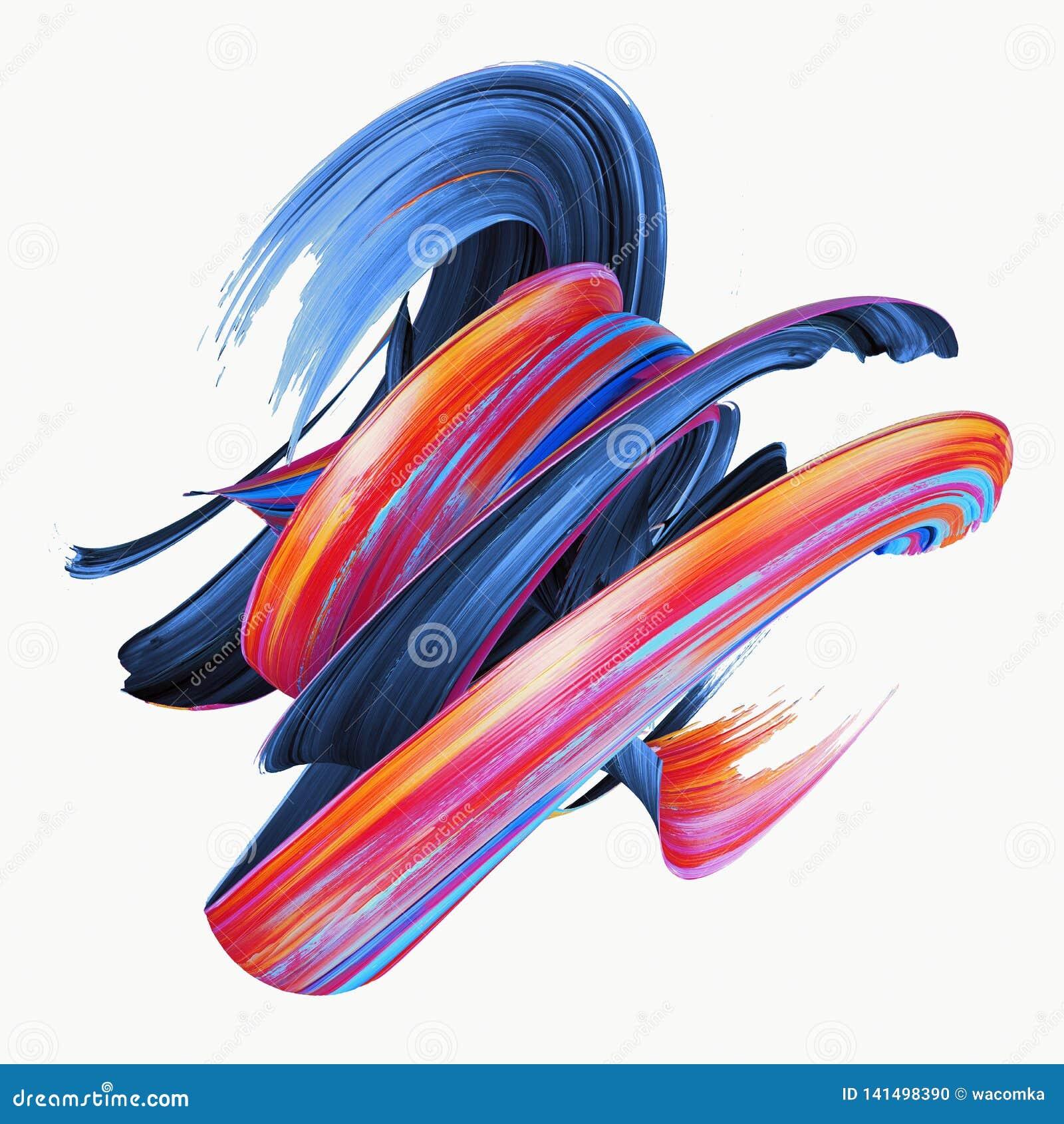 Het 3d teruggeven, abstracte verdraaide kwaststreek, verfplons, ploetert, kleurrijke krul, artistieke die spiraal, op wit wordt g