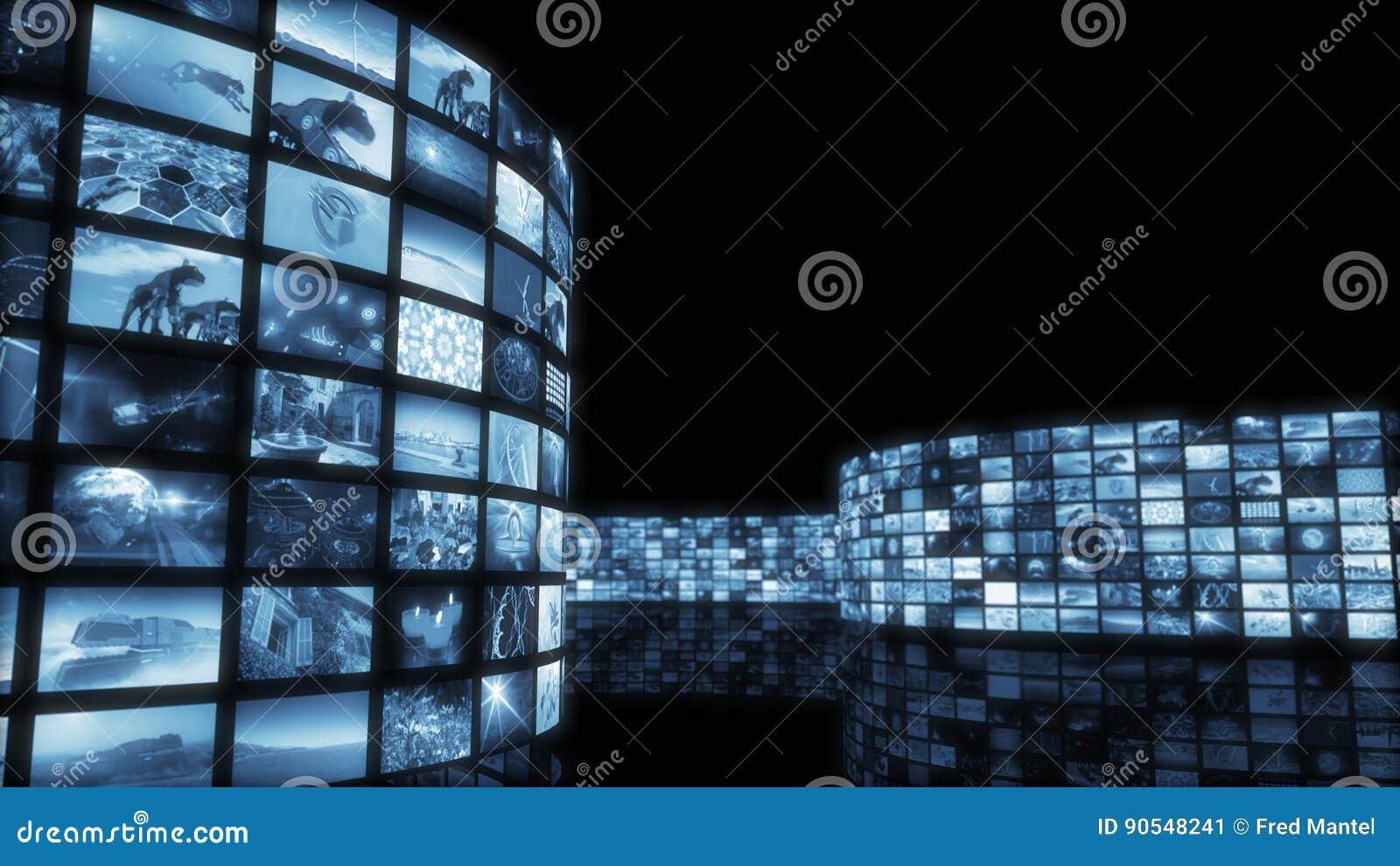Het 3d teruggeven Betoverende gekleurde videomuur