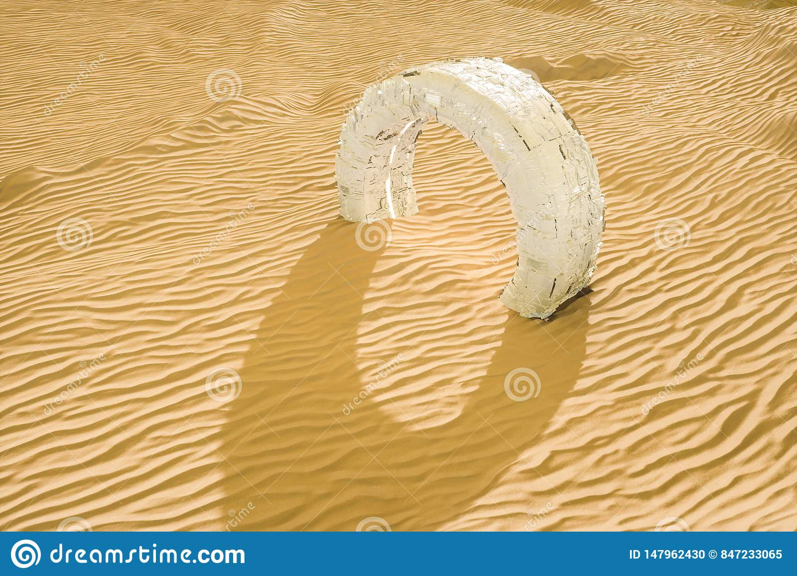Het 3d teruggeven, de brede woestijn, met strepenvormen