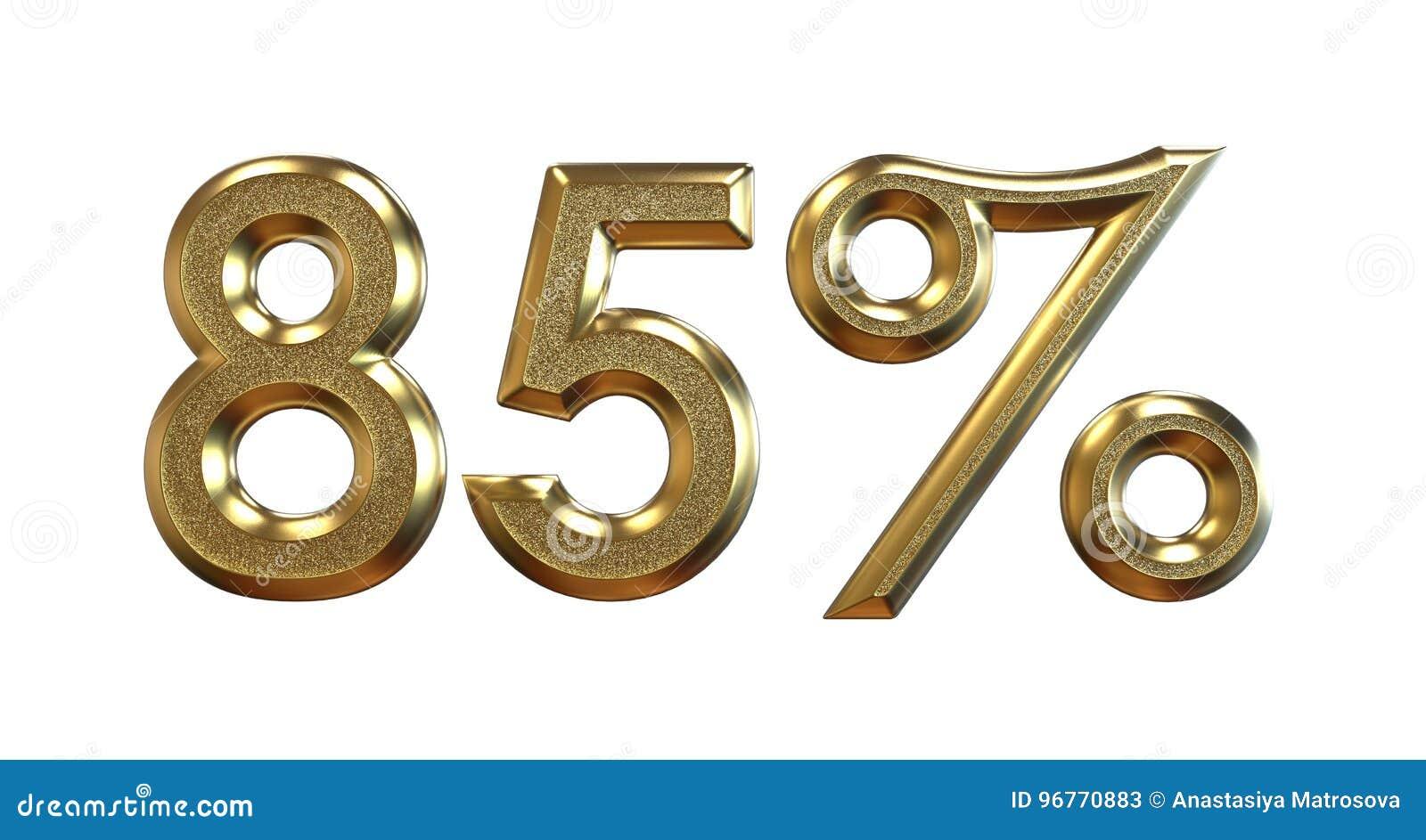 Het 3d teruggeven Gouden percentages op een witte achtergrond