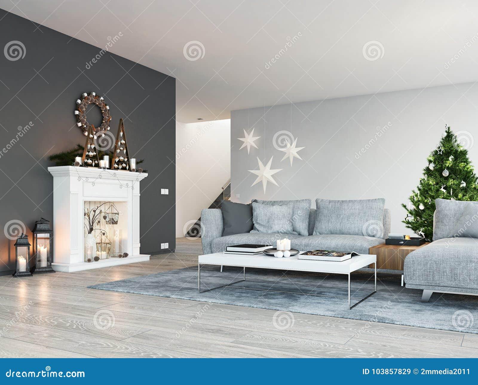 Het d teruggeven huis met open haard in moderne flat de decoratie
