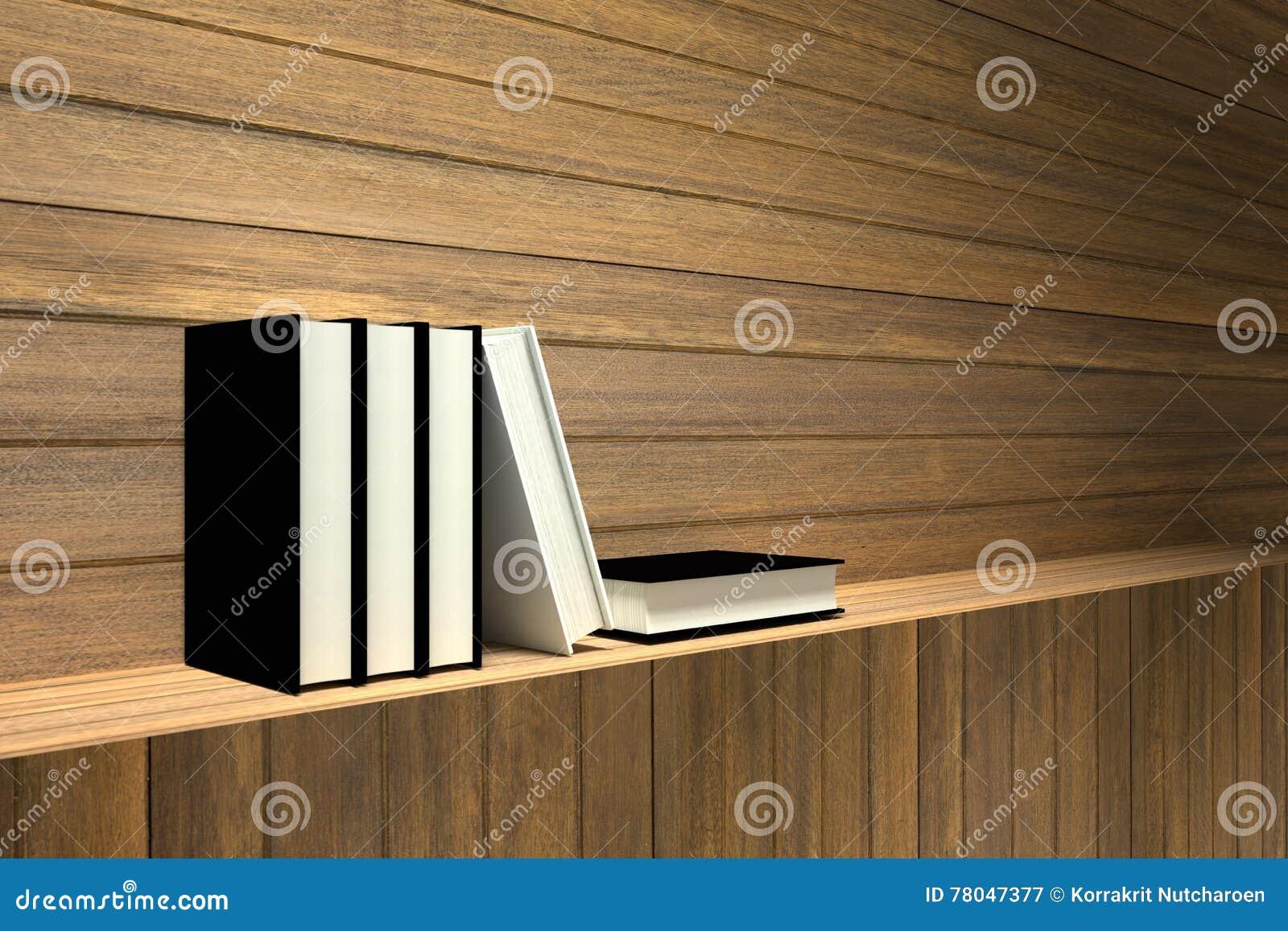 Houten Planken Tegen De Muur.Het 3d Teruggeven Illustratie Van Boeken Op Houten Plank Of Houten