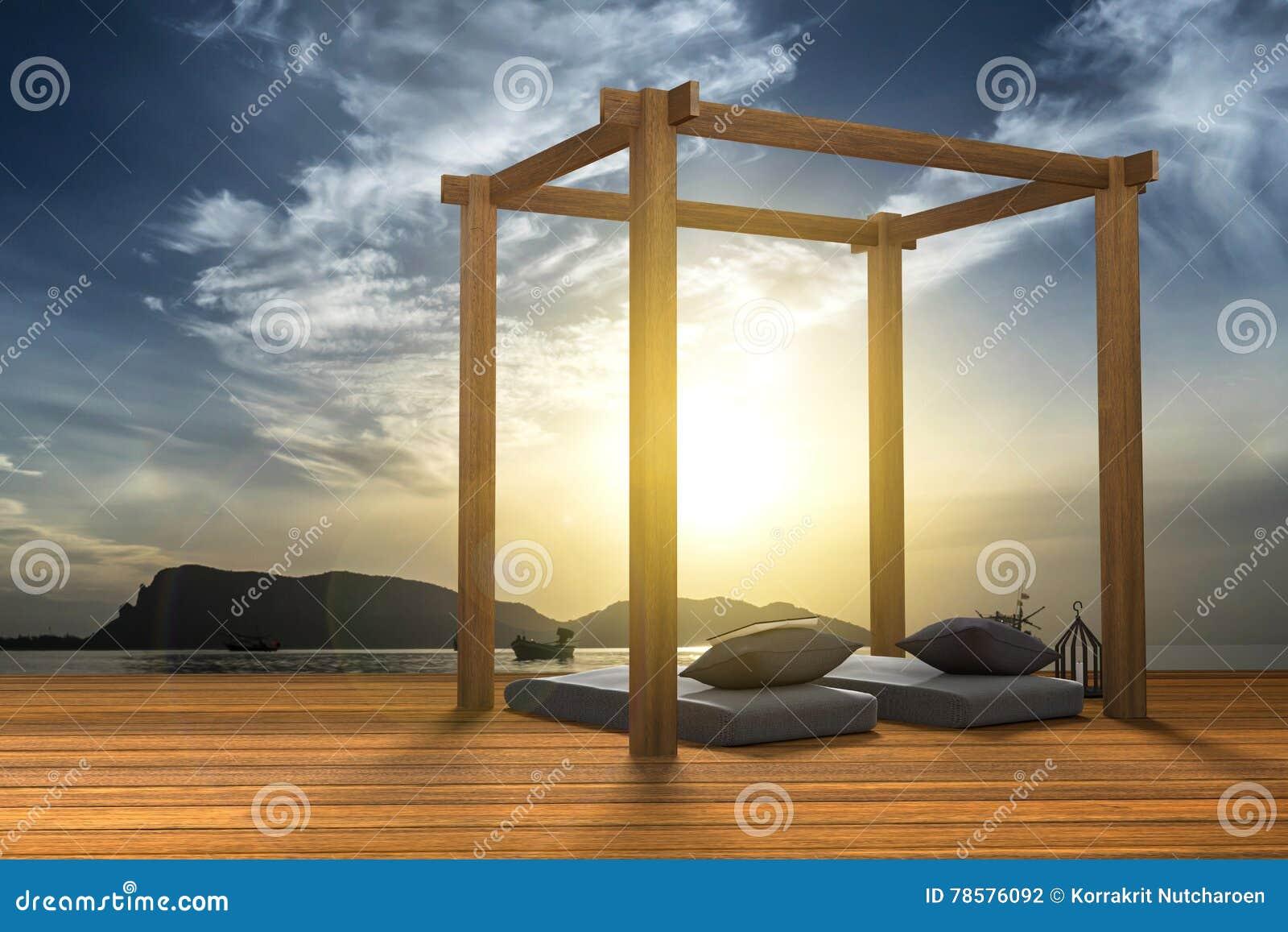 Het 3d teruggeven illustratie van de moderne houten decoratie van de strandzitkamer bij stijl - Decoratie stijl van de bergen ...