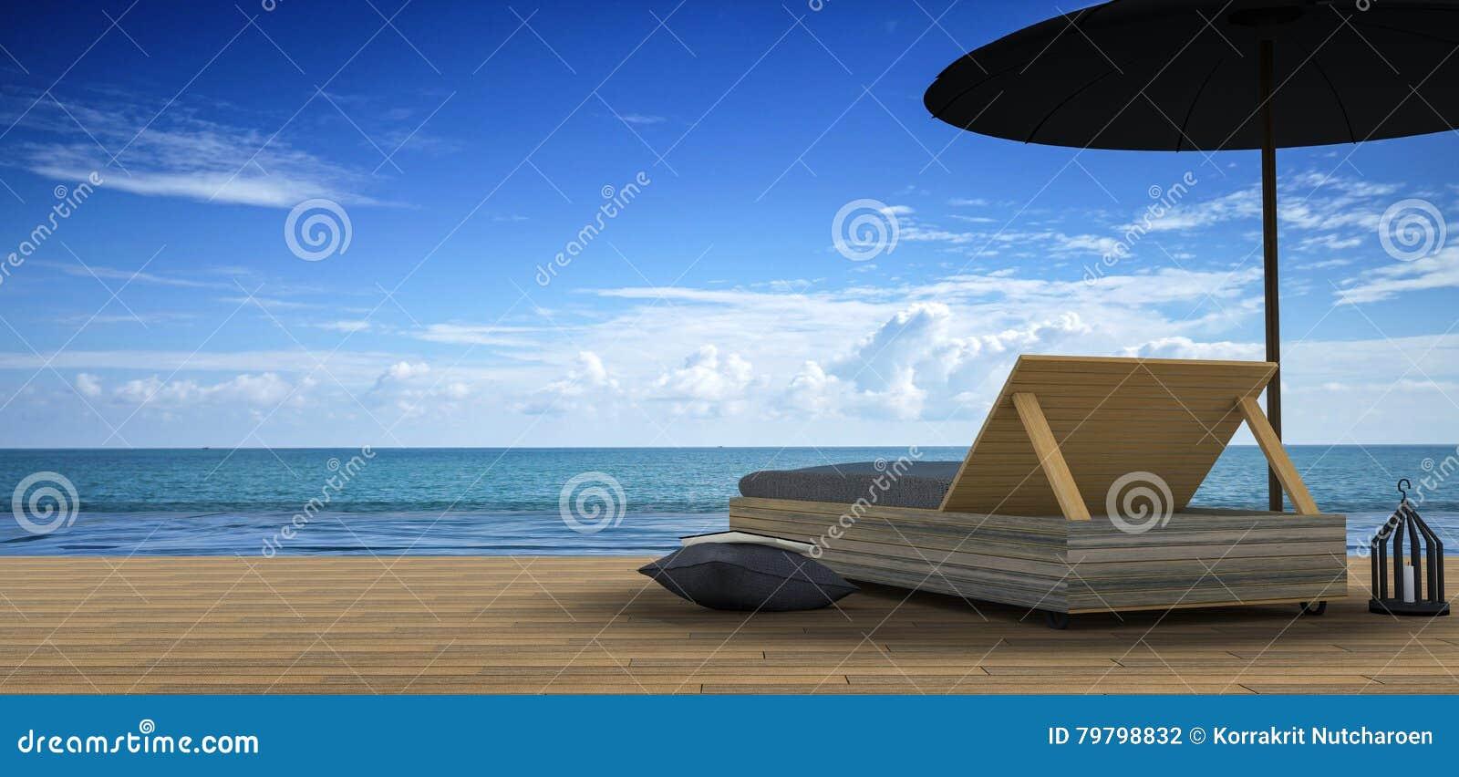 Het 3D Teruggeven: illustratie van Strandzitkamer - de Overzeese mening van Sundeck en voor vakantie en de zomer op bruine houten