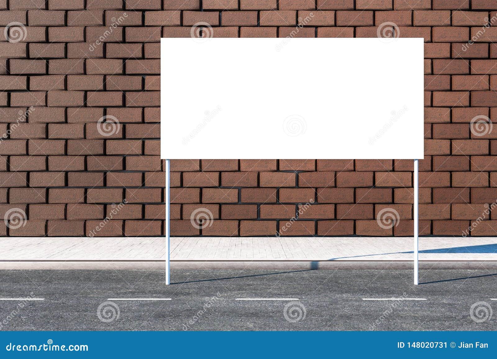 Het 3d teruggeven, reclameaanplakbord aan de kant van weg