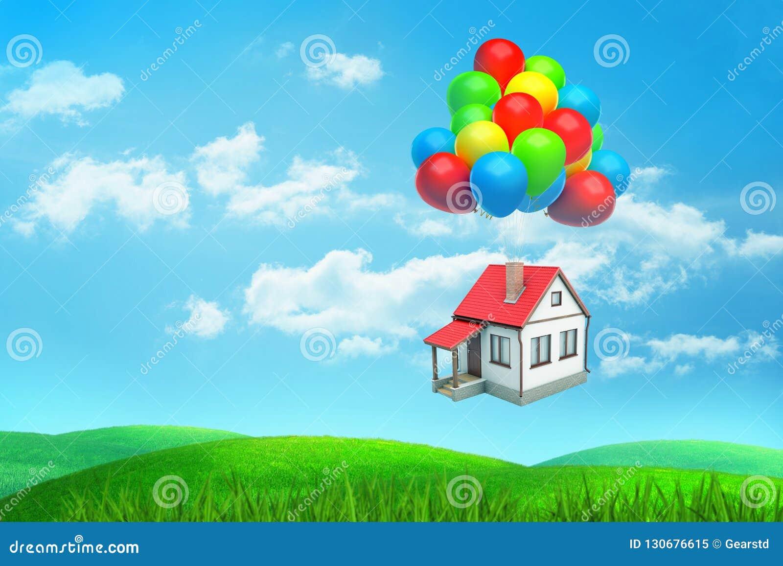 Het 3d teruggeven schrijft rood-roofed huisvliegen die op vele gekleurde ballons over een groen gebied hangen
