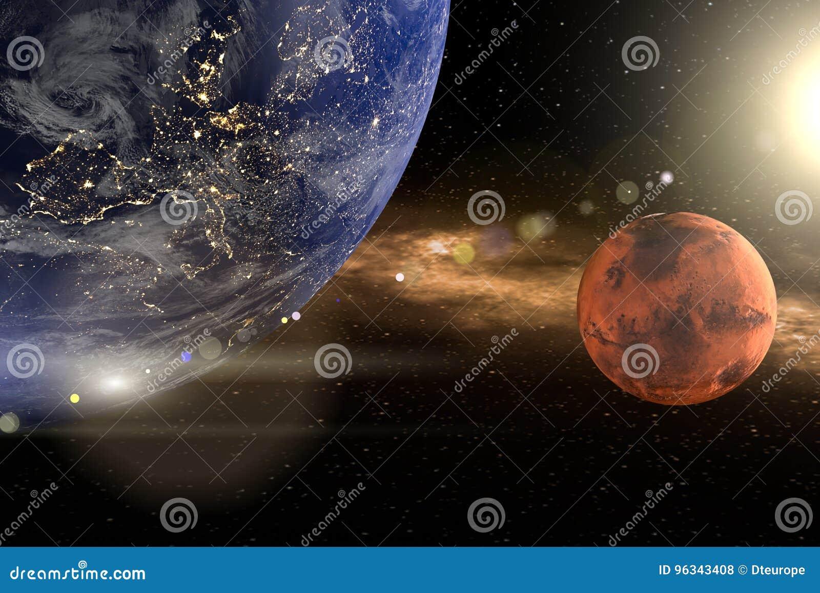 Het 3d teruggeven van de aarde als close-up met de planeten brengt en zon op de achtergrond in de war