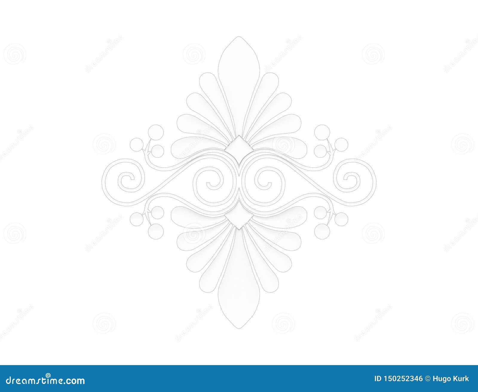 Het 3d teruggeven van een bloemenornament dat op witte achtergrond wordt geïsoleerd