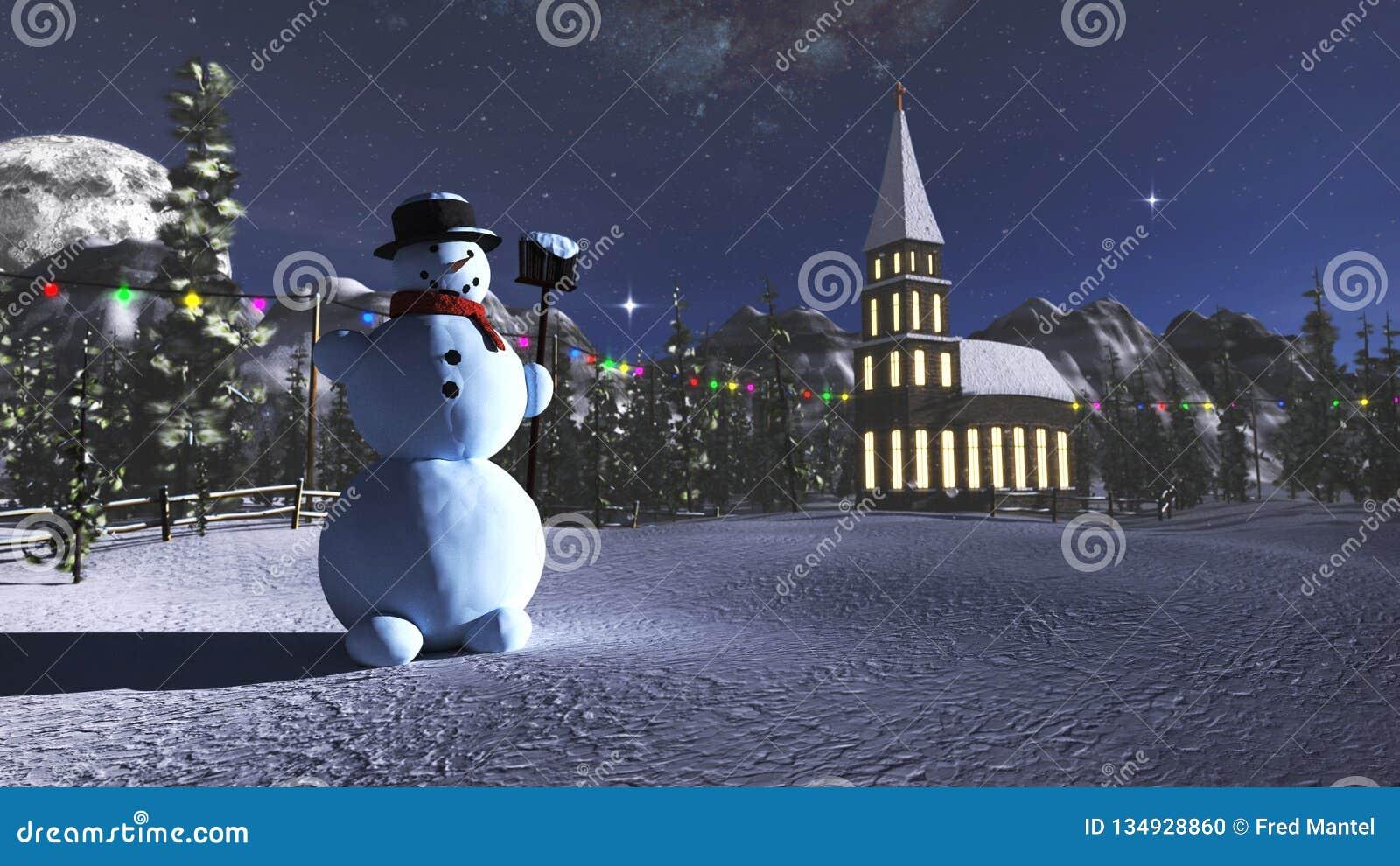 Het 3D teruggeven van een sneeuwman en weinig kerk in de winterlandschap