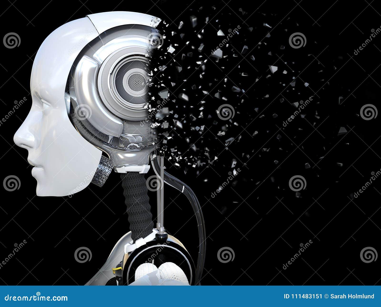 Het 3D teruggeven van een vrouwelijk androïde robothoofd dat verbrijzelt