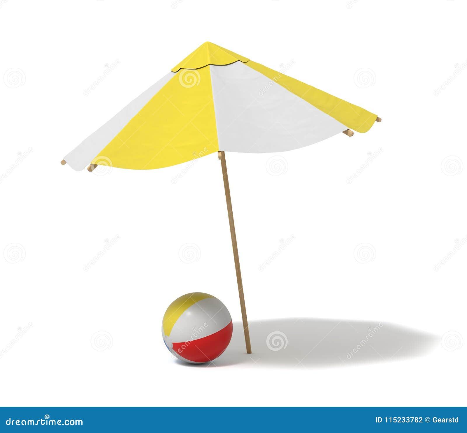 Het 3d teruggeven van een witte en gele strandparaplu en een opgeblazen strandbal