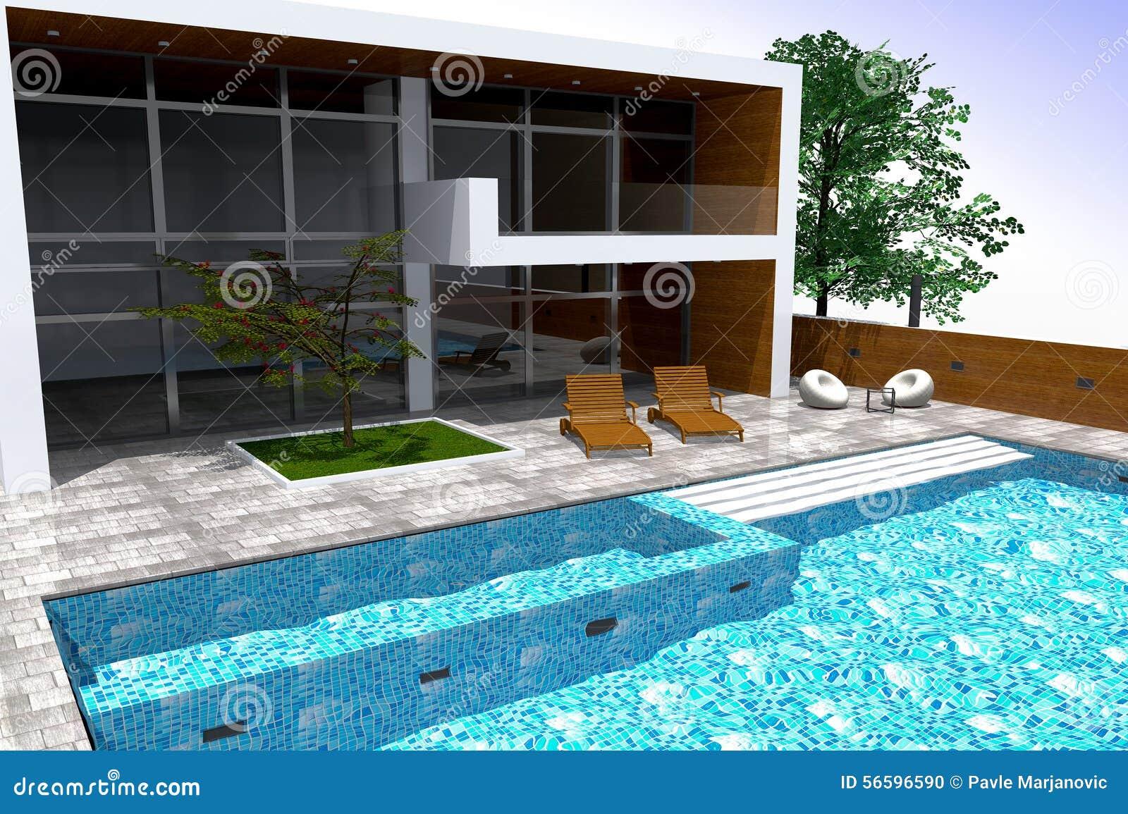 Het 3d teruggeven van modern herenhuis stock illustratie for Modern herenhuis
