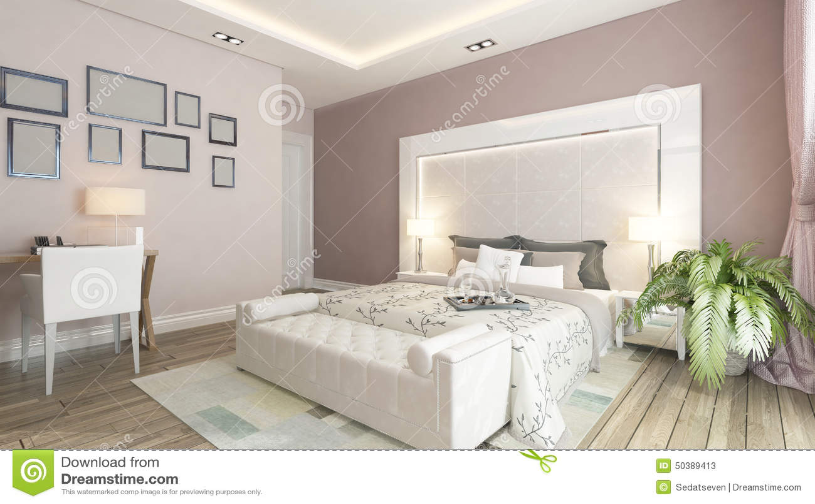 Het 3d Teruggeven Van Moderne Slaapkamer Met Roze Muur Stock ...
