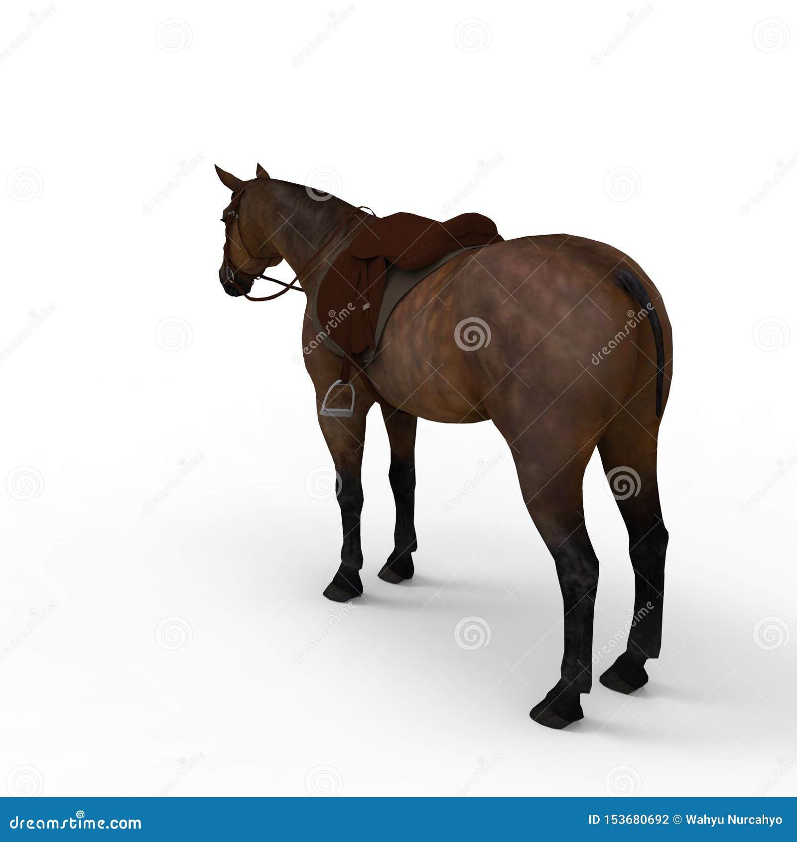 Het 3d teruggeven van paard door een mixerhulpmiddel te gebruiken dat wordt gecreeerd