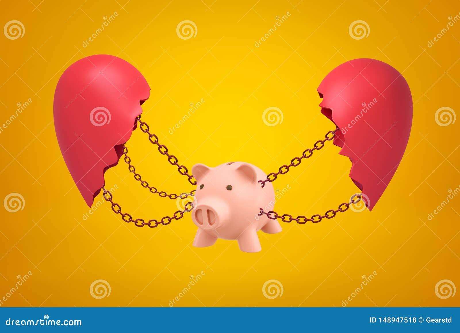 Het 3d teruggeven van roze opgeschort spaarvarken op kettingen tussen twee delen van gebroken hart op gele achtergrond