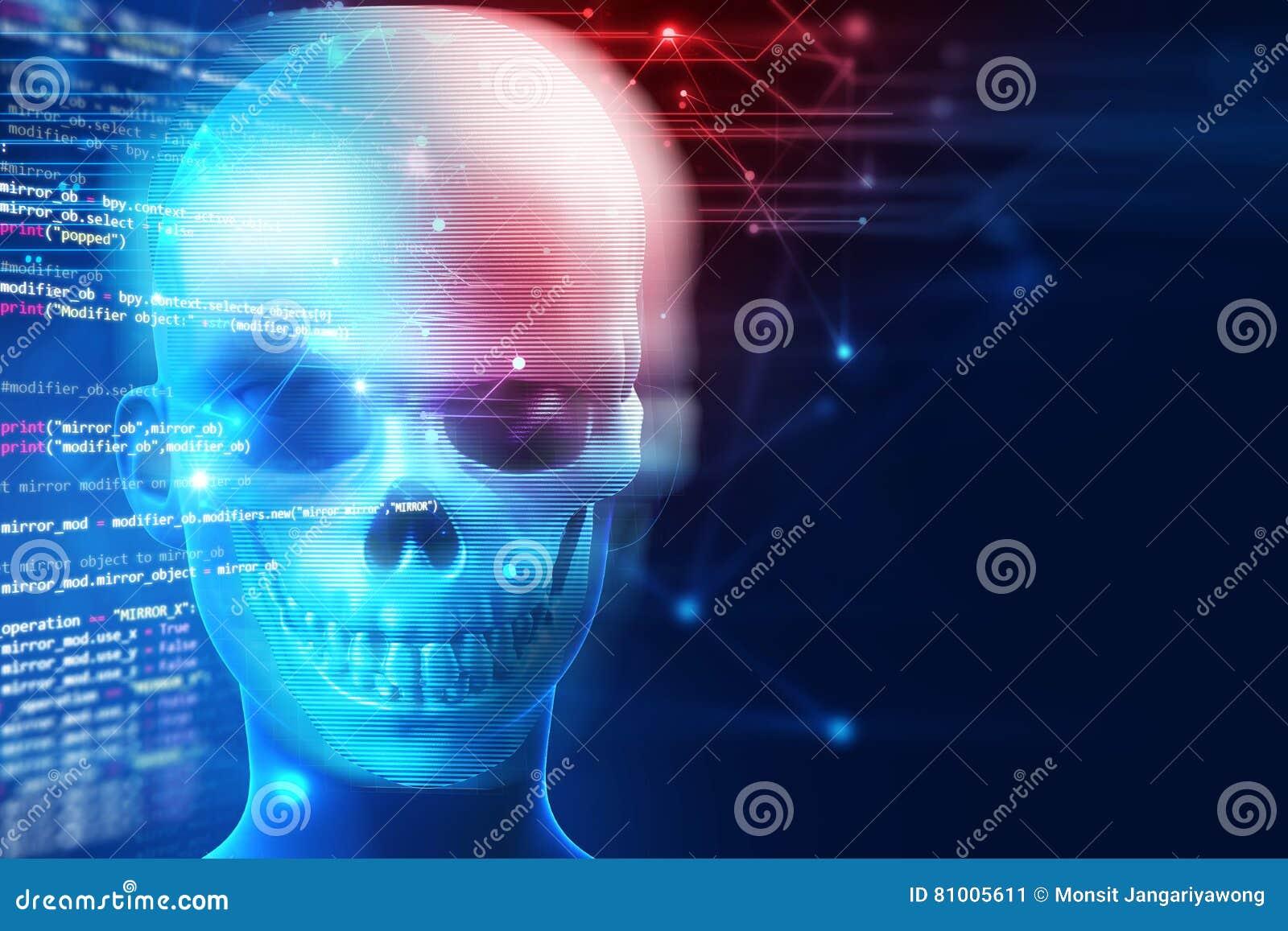 Het 3d teruggeven van schedel op technologieachtergrond