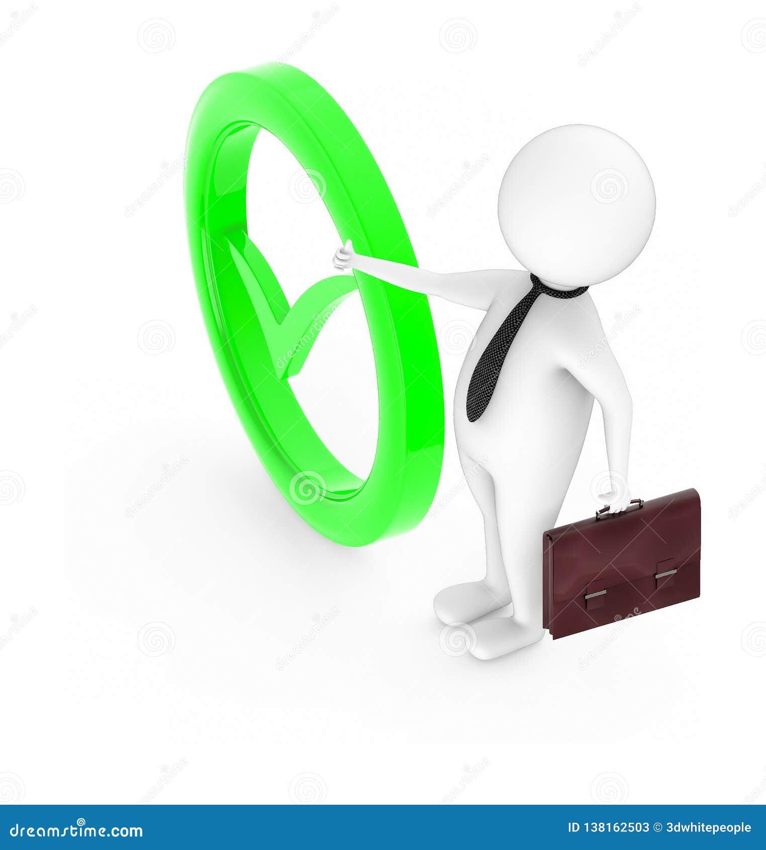 Het 3d witte karakter tonen beduimelt omhoog gebaar en het houden van een aktentas in zijn hand terwijl status dichtbij aan een m