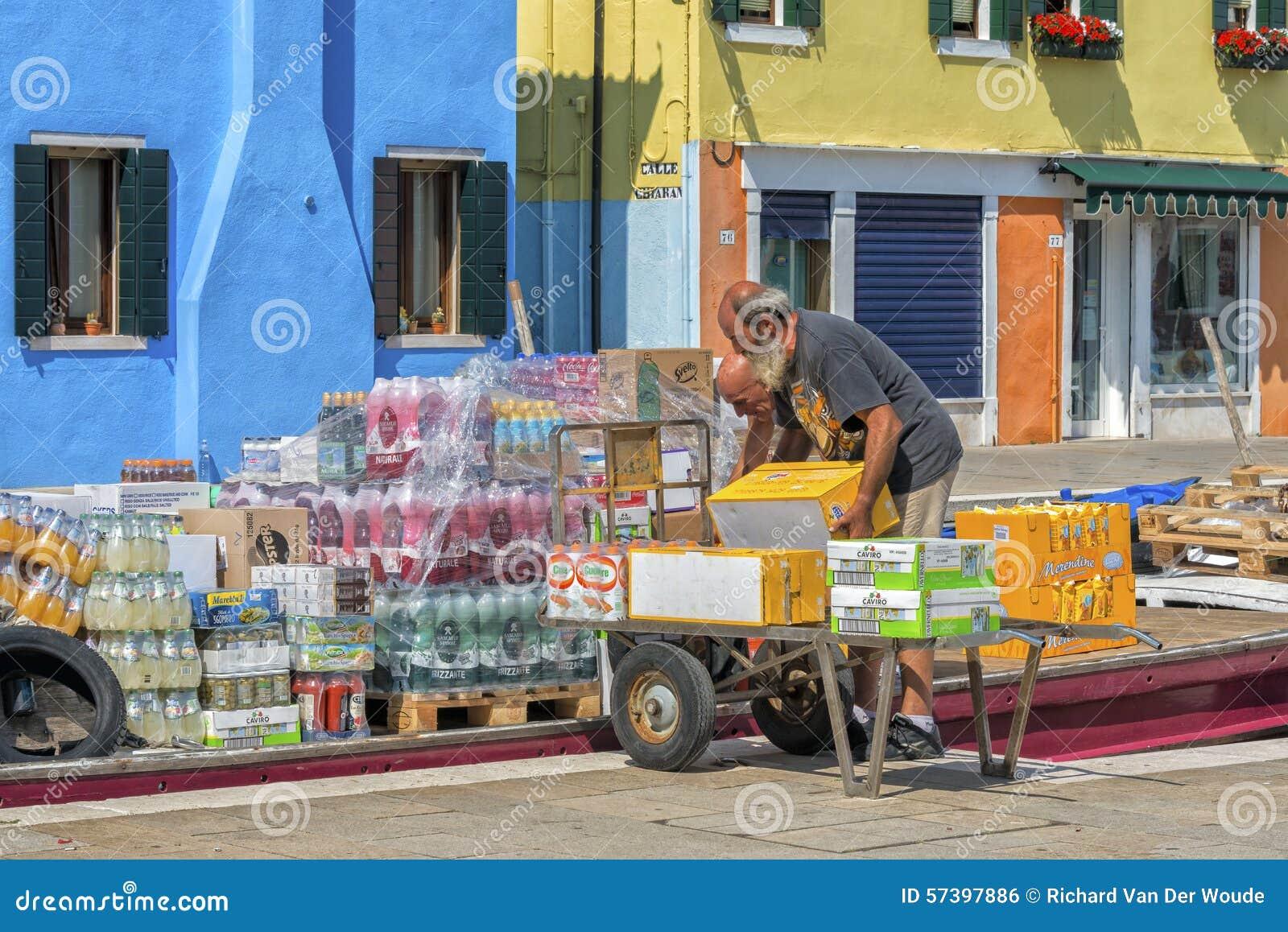 Het dagelijkse leven in Burano, Italië