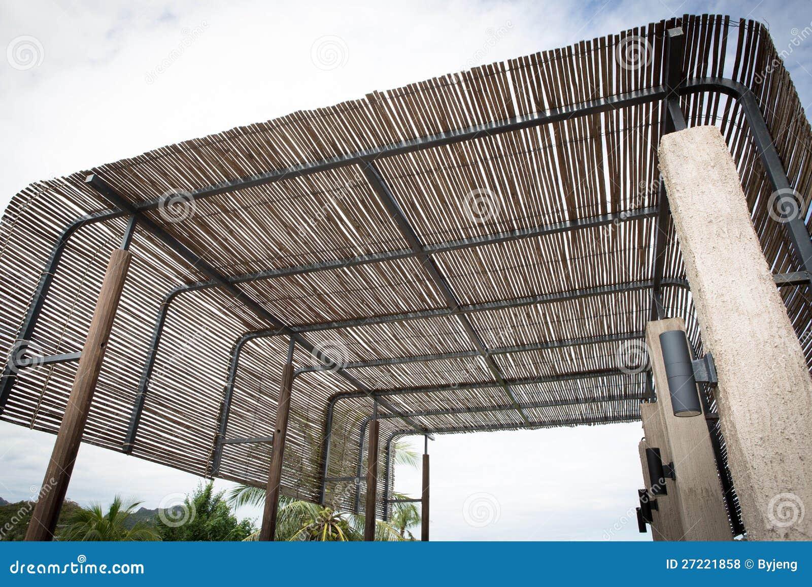 Het dak van het bamboe stock foto afbeelding bestaande uit