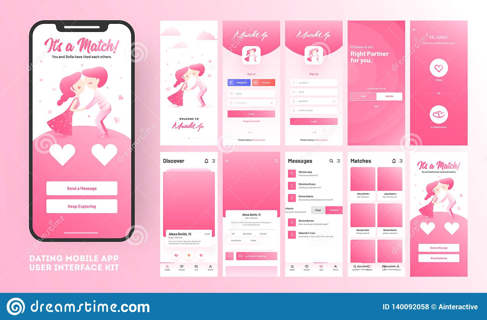 Het dateren van app ui uitrusting voor ontvankelijke mobiele toepassing of website met verschillende gui