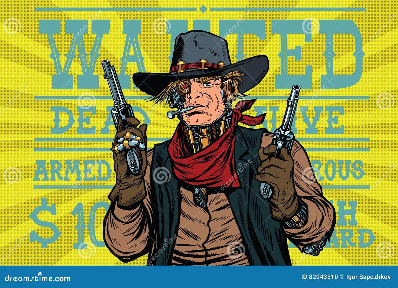 Het de bandietenwilde westen van de Steampunkrobot, wilde