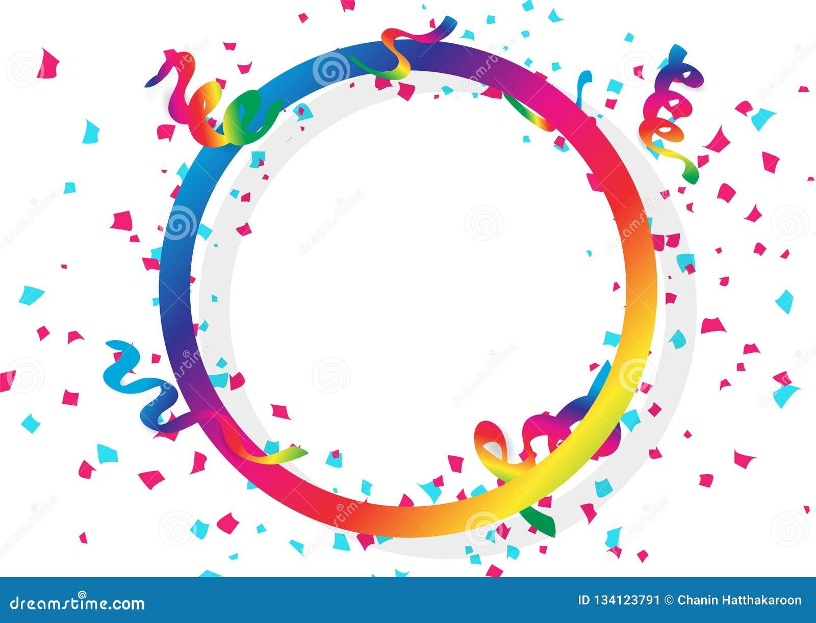 Het de de confettienviering, linten en document verspreiden het vallen met cirkel de regenboogkader van het ringsspectrum gebruik