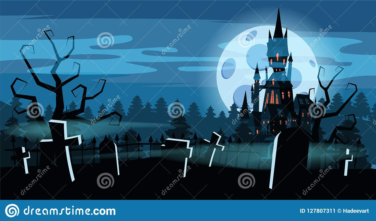Het de vakantiekerkhof van malplaatjehalloween, zwarte verliet kasteel, somber de herfstbos, panorama, maan, kruisen en