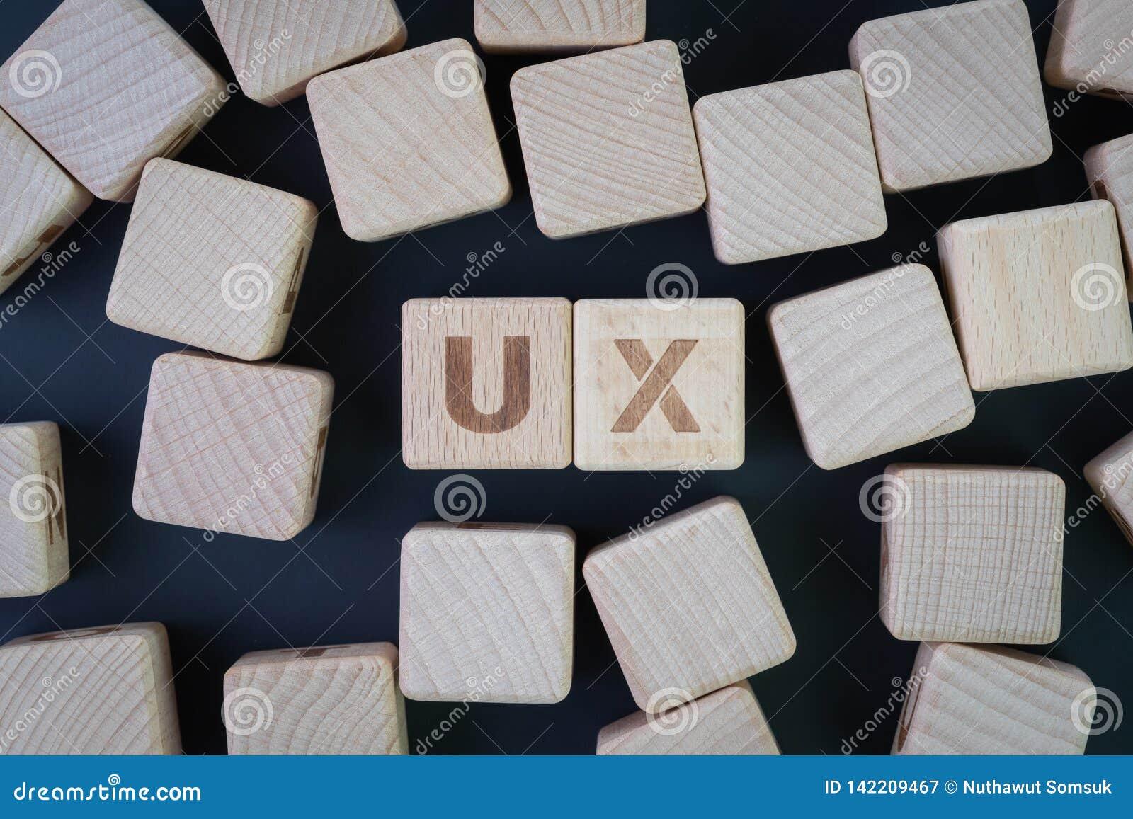 Het de het de vlakke gebruikerservaring, UX-ontwerp, bruikbaarheidstest of onderzoekconcept, leggen of hoogste mening van houten