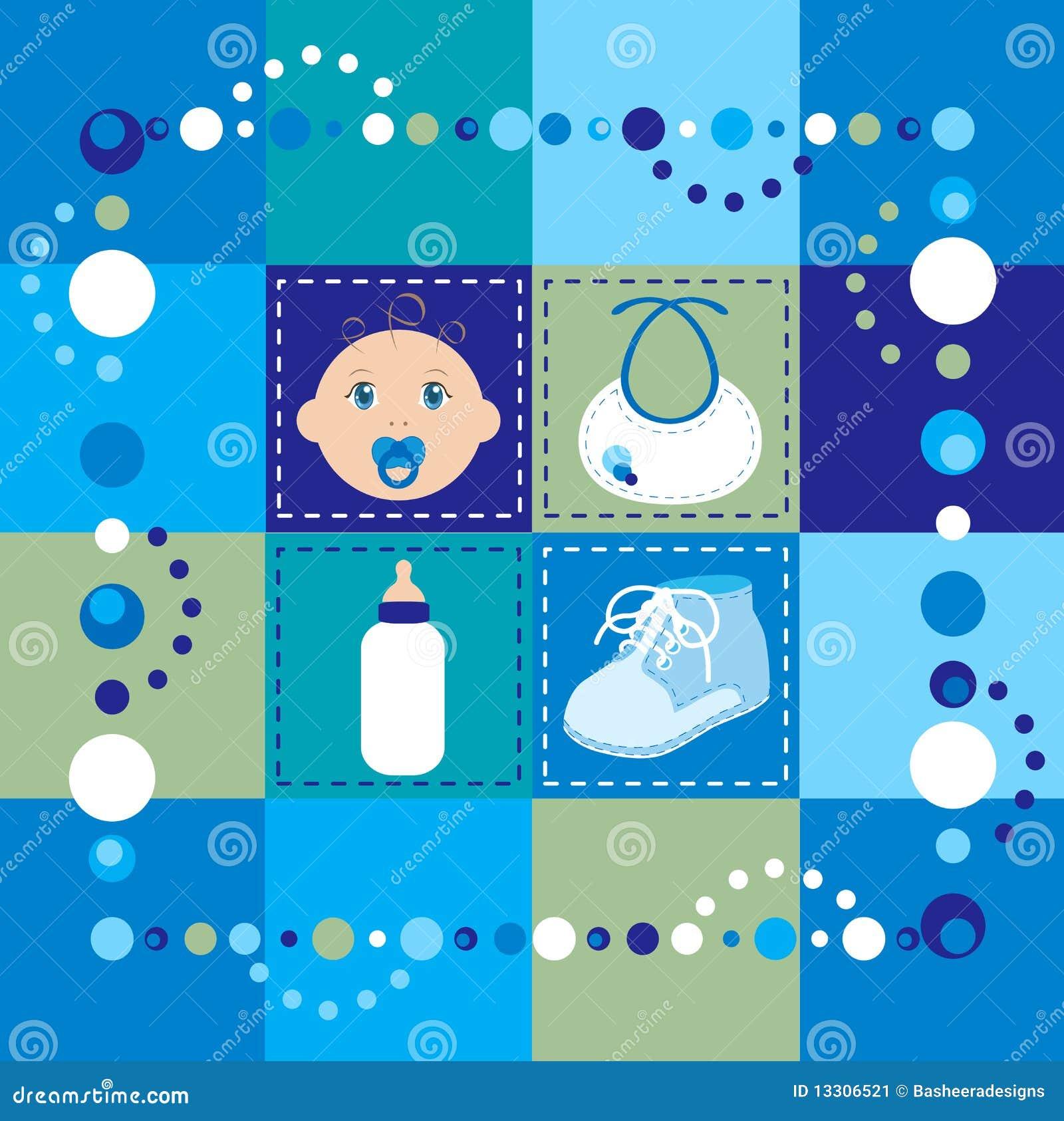 Het dekbed van de jongen van de baby vector illustratie afbeelding 13306521 - Turquoise ruimte van de jongen ...