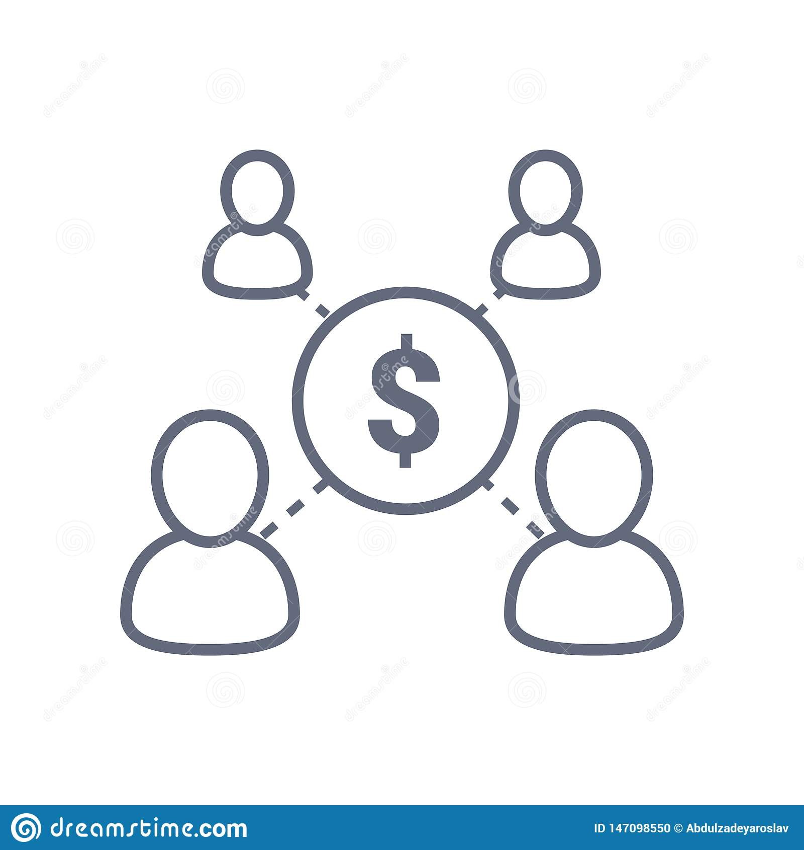 Het delen van economieconcept, financieel beheer, beleggingsmaatschappij, de collectieve dienst, nieuwe handelsinvesteringen, men