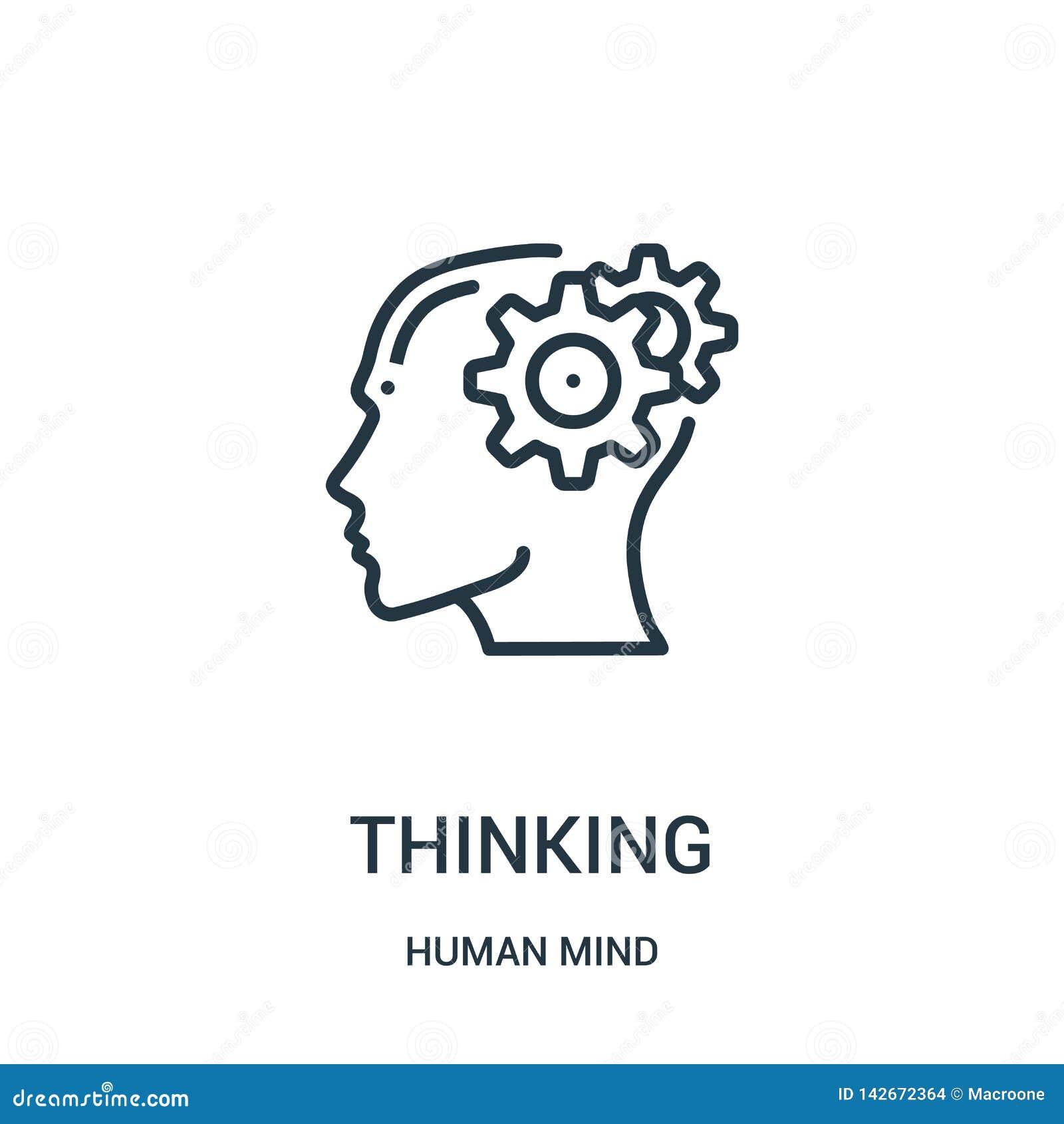 Het denken pictogramvector van menselijke meningsinzameling De dunne lijn het denken vectorillustratie van het overzichtspictogra