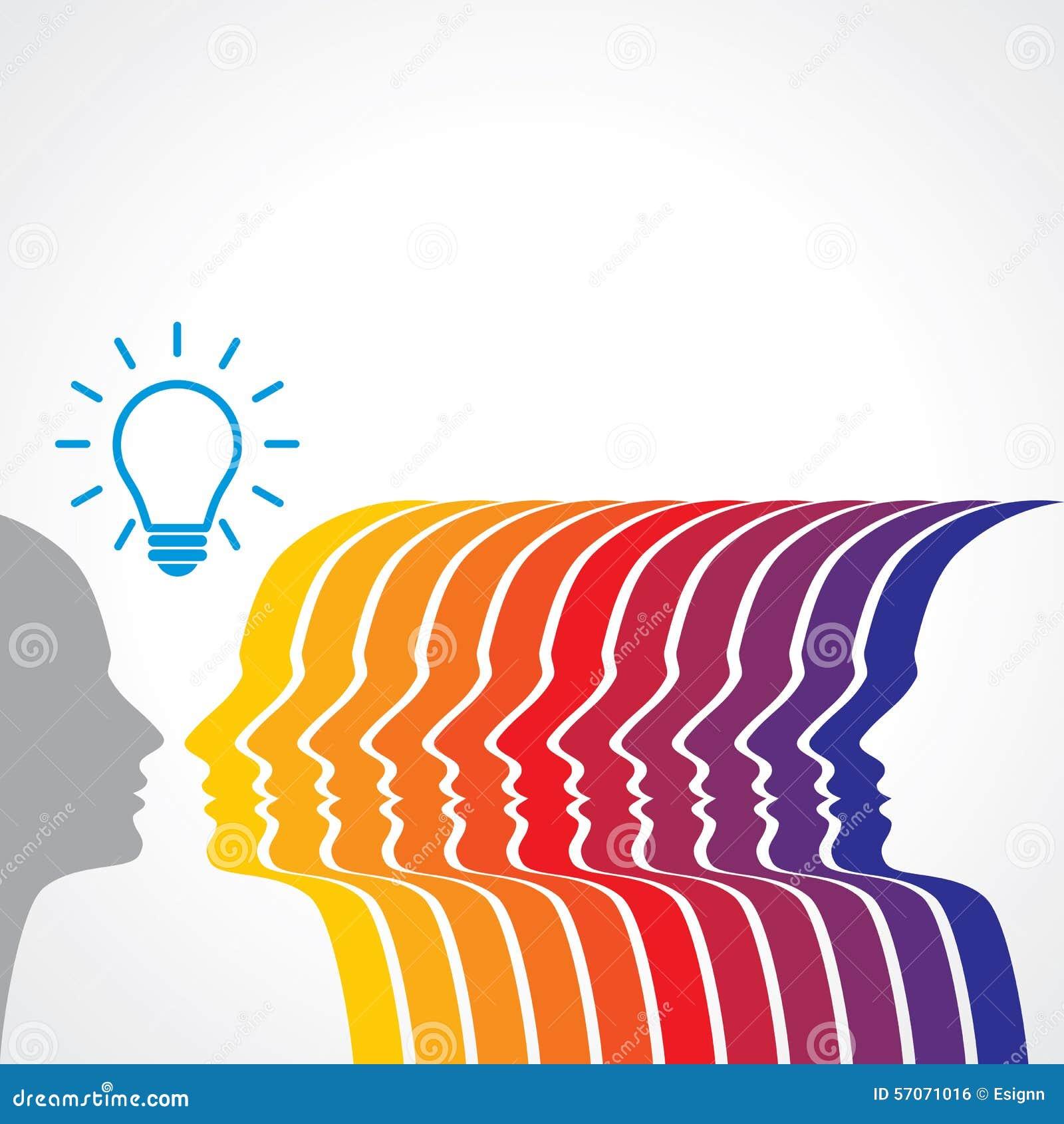 Het denken van mensensilhouet met gedachte