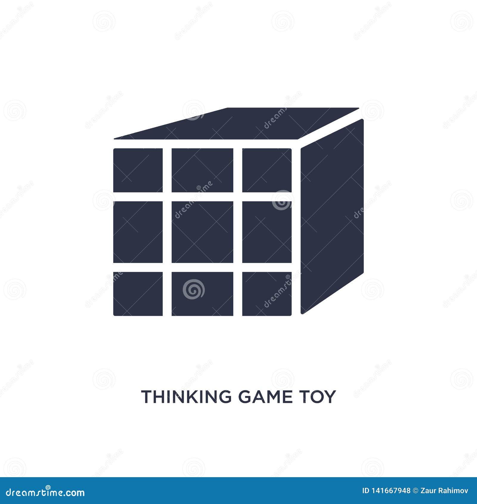 Het denken van spelstuk speelgoed pictogram op witte achtergrond Eenvoudige elementenillustratie van speelgoedconcept