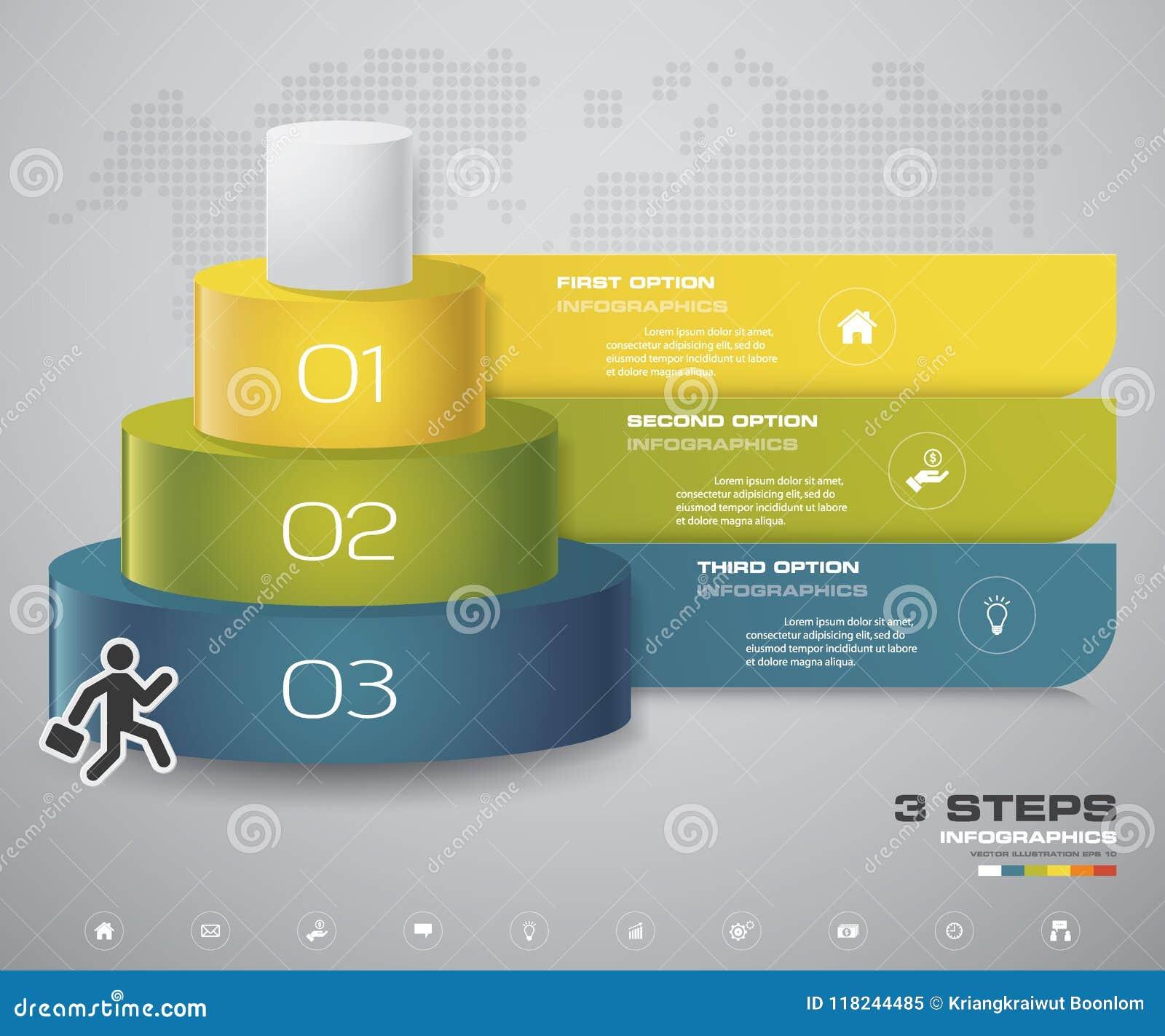 Het diagram van 3 stappenlagen Eenvoudig & editable abstract ontwerpelement