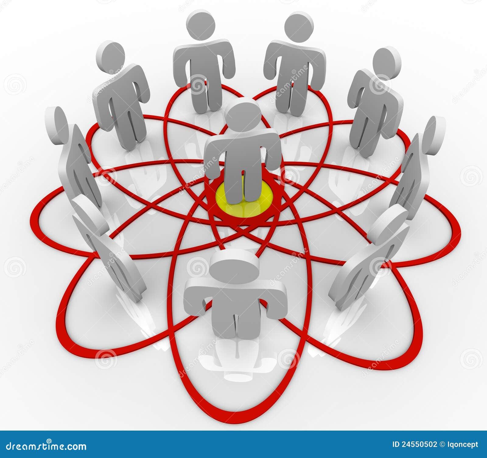 Het Diagram van Venn Vele Mensen Één Persoon in Centrum