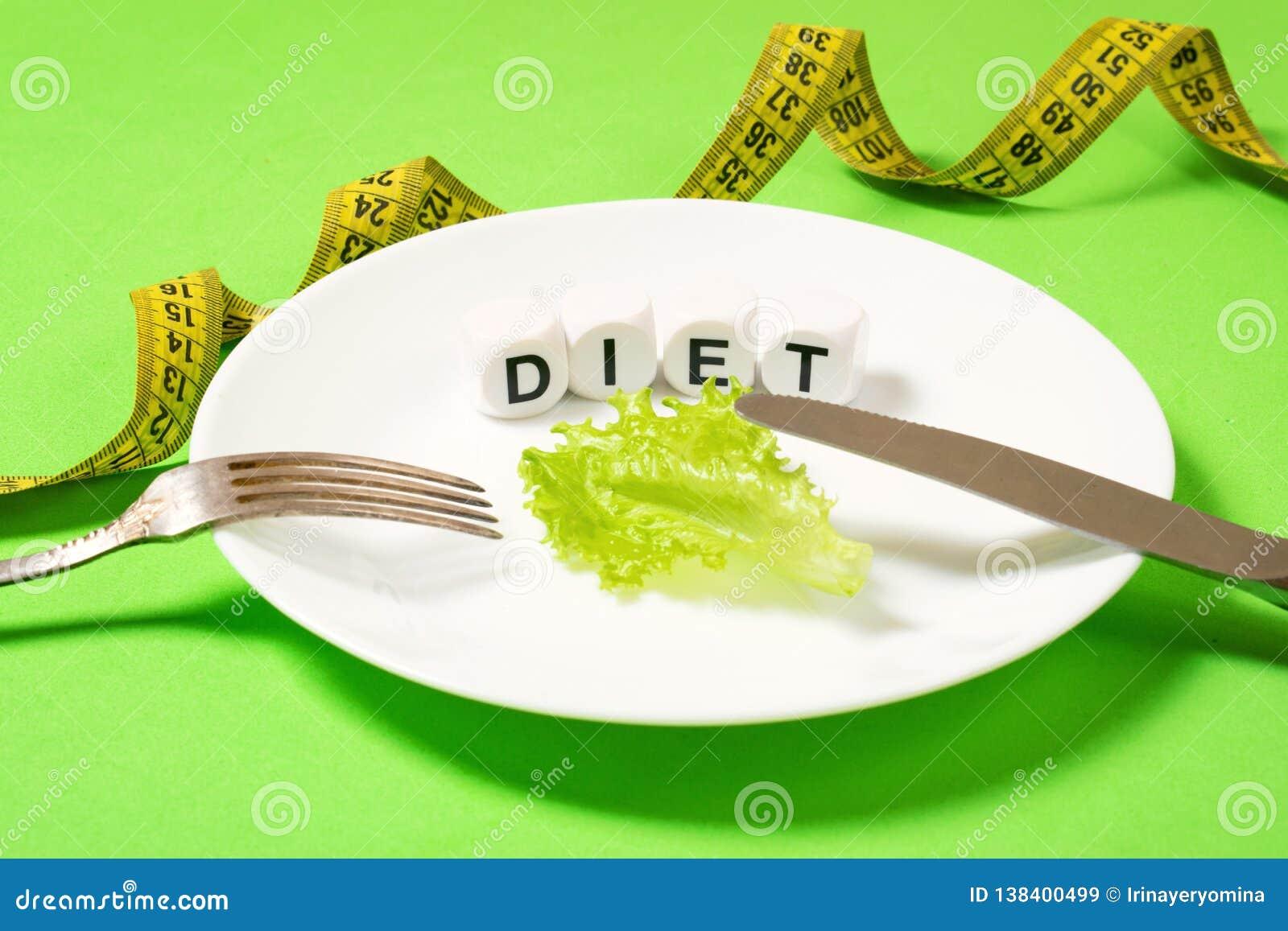 Het dieet, weegt verlies, het gezonde eten, geschiktheidsconcept Klein gedeelte van voedsel op grote plaat Klein groen saladeblad