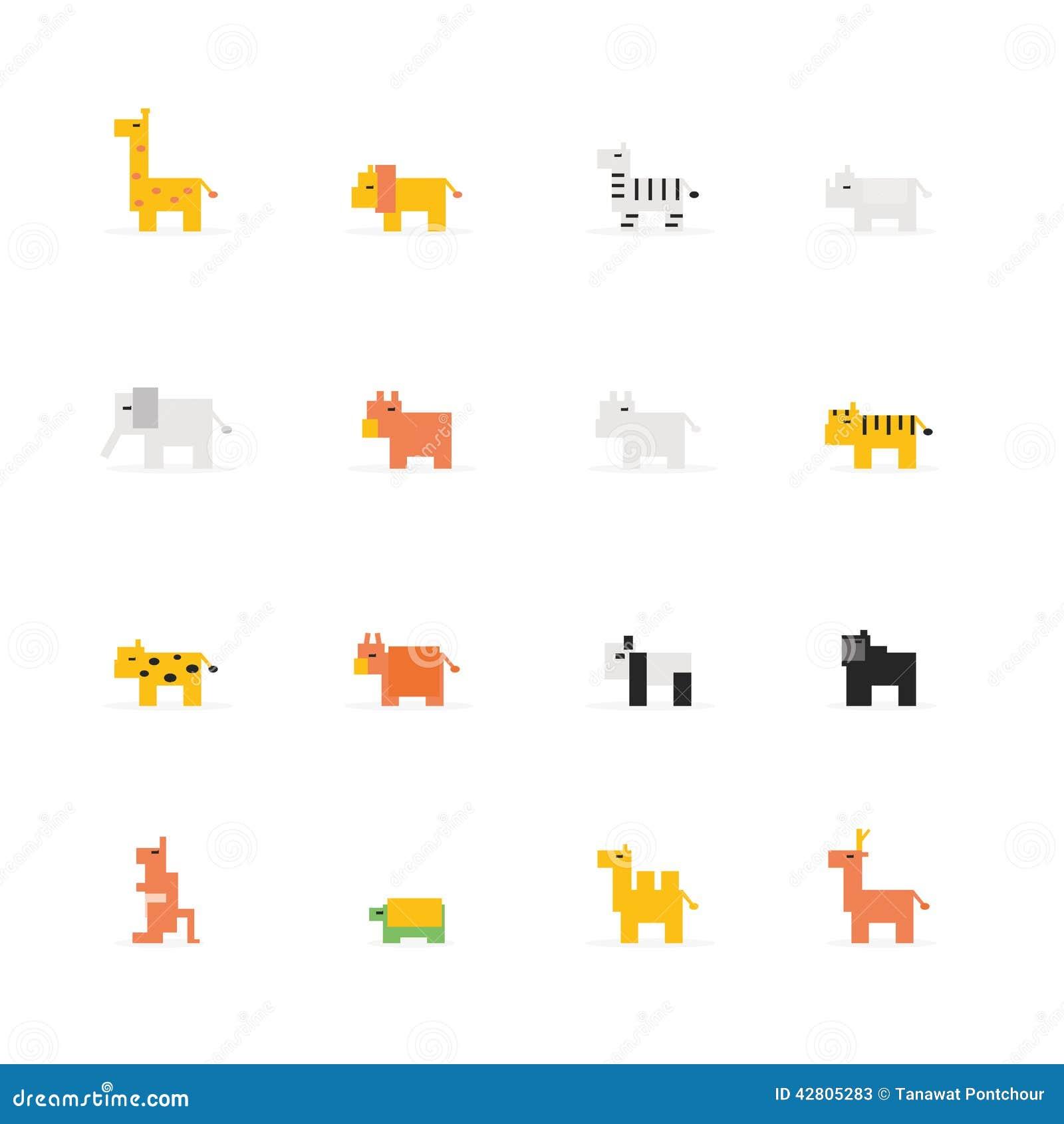 Het dierlijke pictogram van het pixelwild