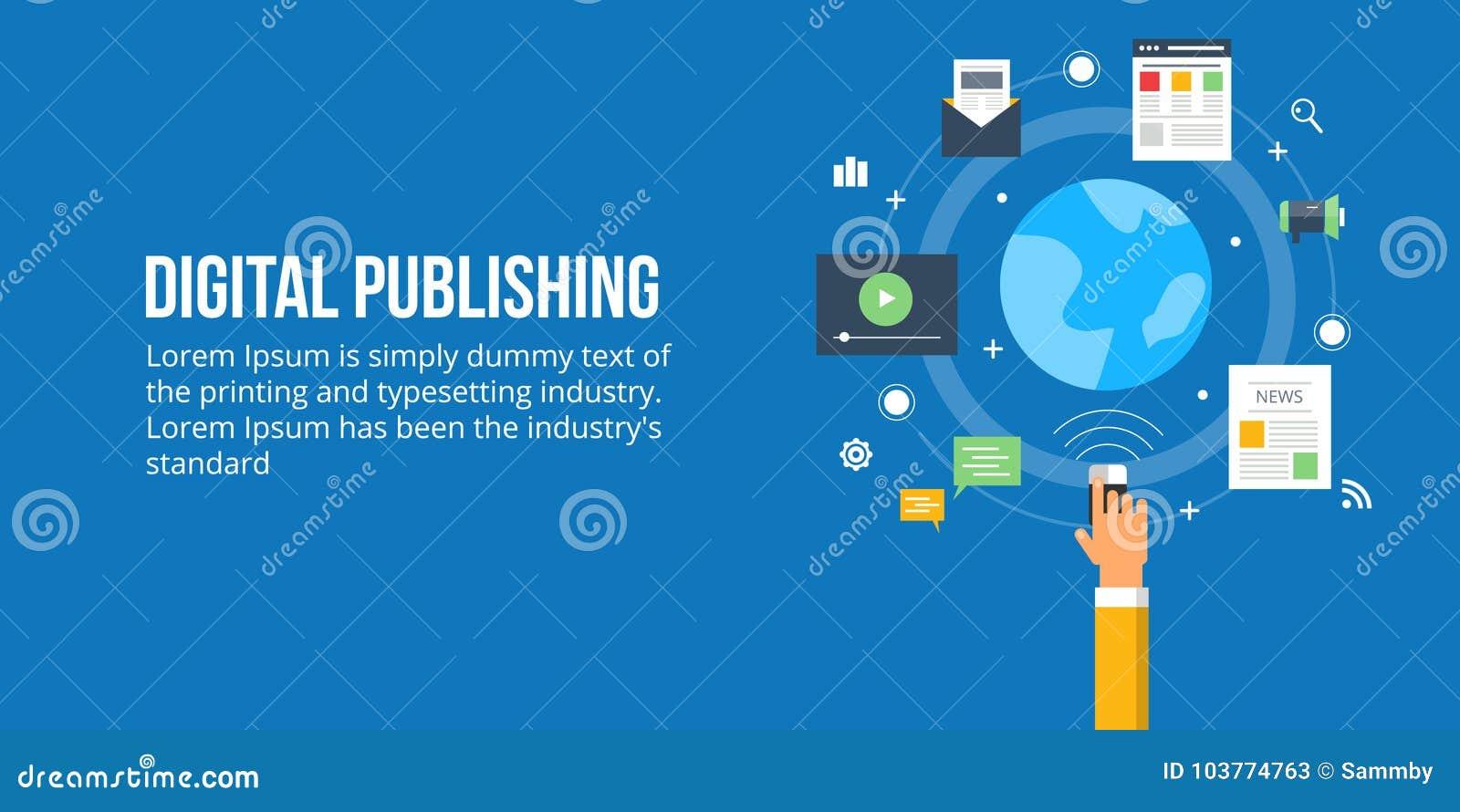 Het digitale publiceren - media inhoud het publiceren vlak ontwerpconcept