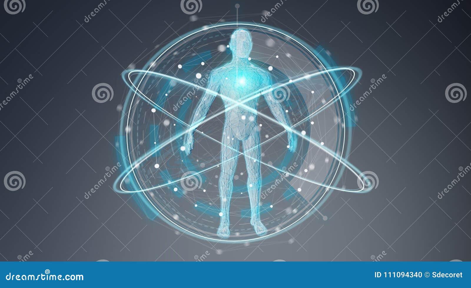 Het digitale x-ray van het achtergrond menselijk lichaamsaftasten interface 3D teruggeven