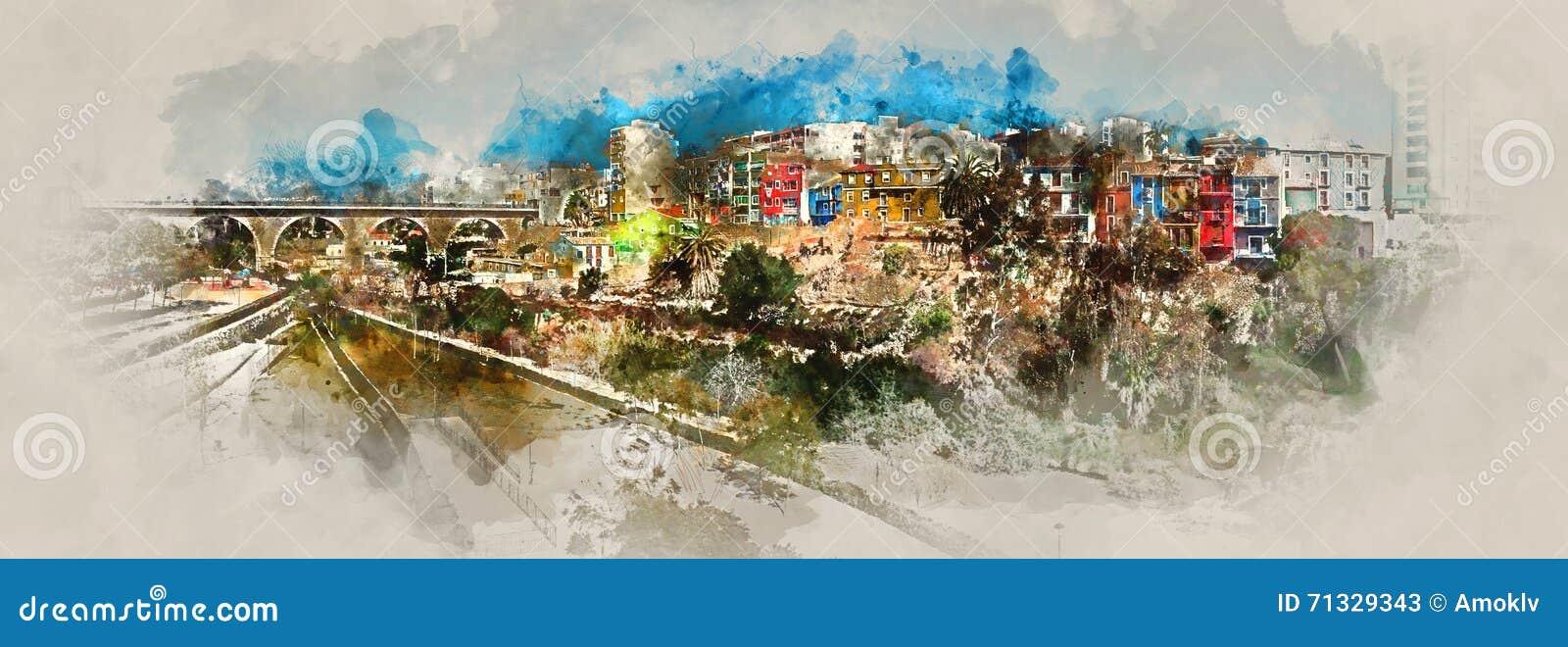 Het digitale waterverf schilderen van Villajoyosa-stad