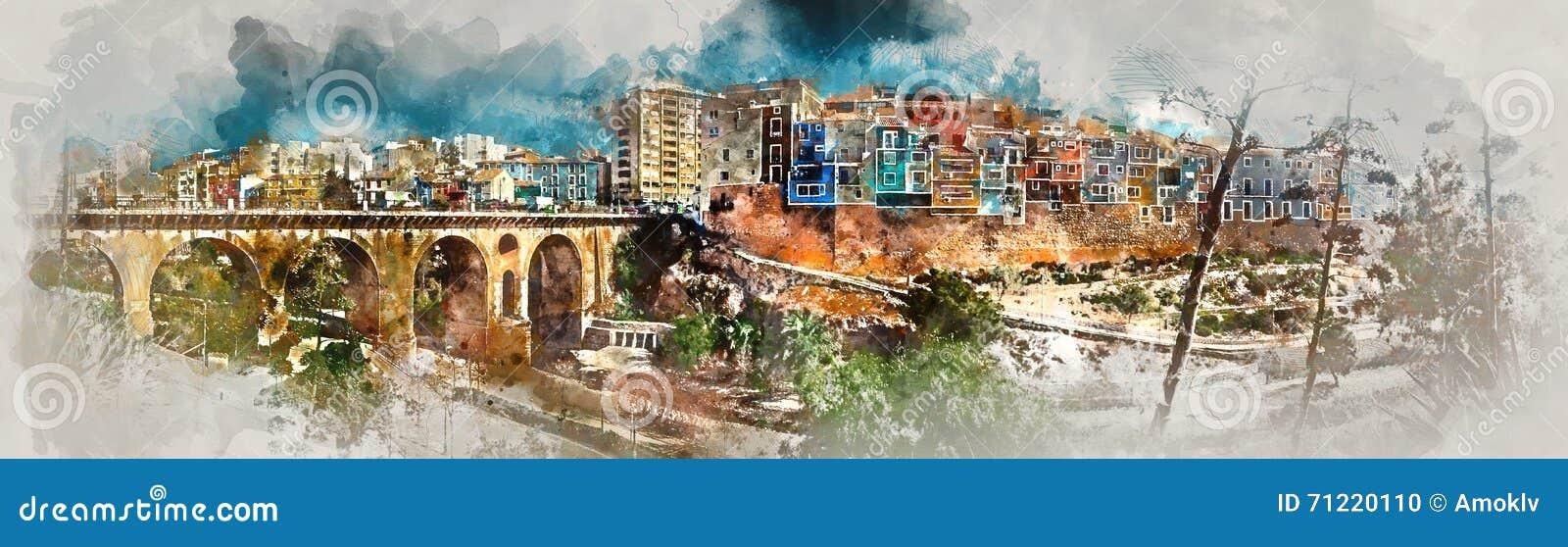 Het digitale waterverf schilderen van Villajoyosa-stad spanje