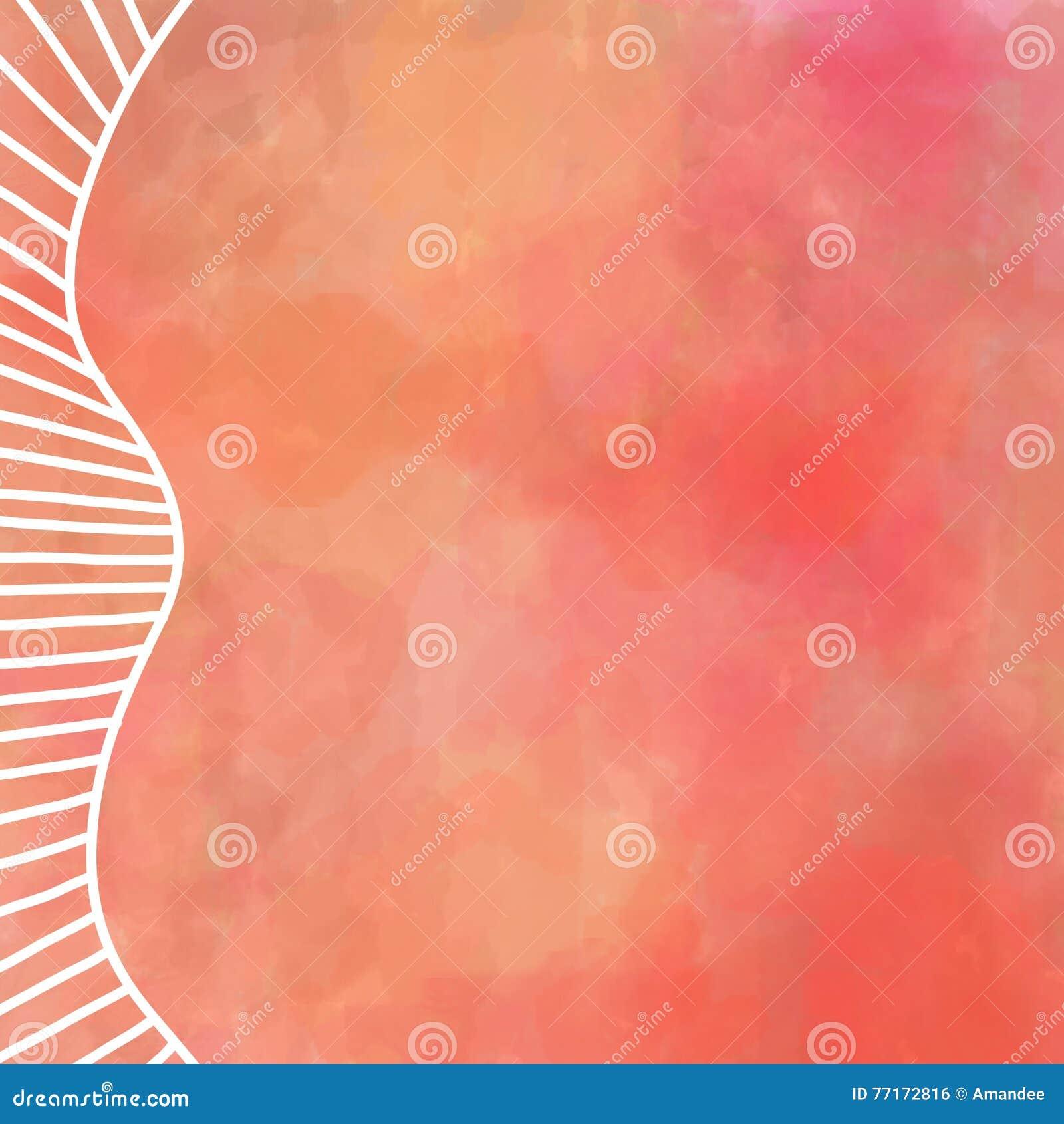 Het digitale waterverf schilderen in warme de herfstkleuren van oranjerood en geel met wit grensontwerp van rechte en gebogen lij