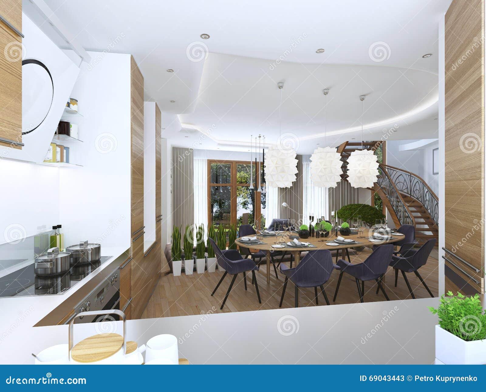 Het Dineren Keukenontwerp In Een Moderne Stijl Met Een Eettafel En ...