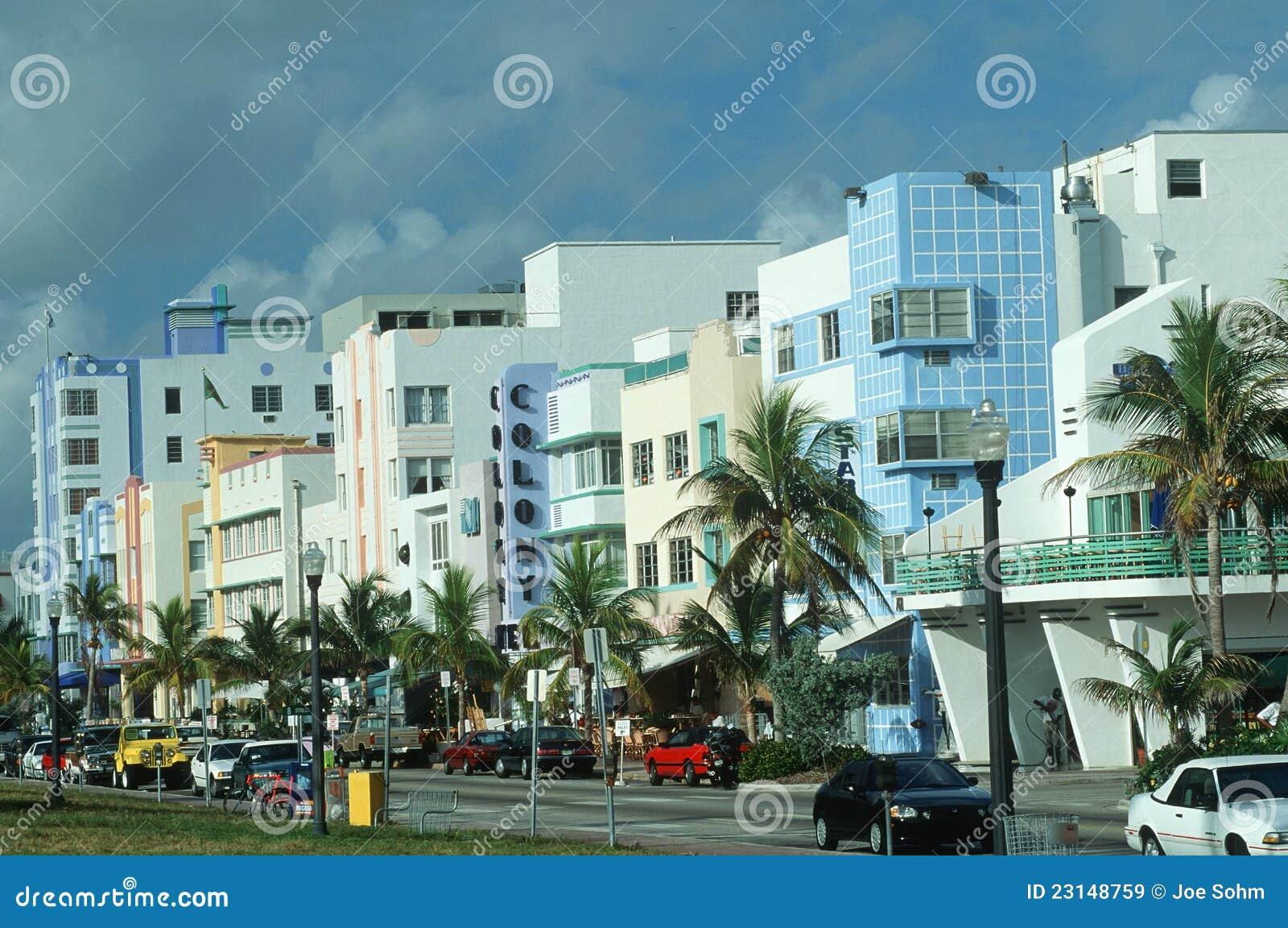 Het district van het art deco het strand miami fl van het zuiden redactionele stock afbeelding - Deco van het appartement ...