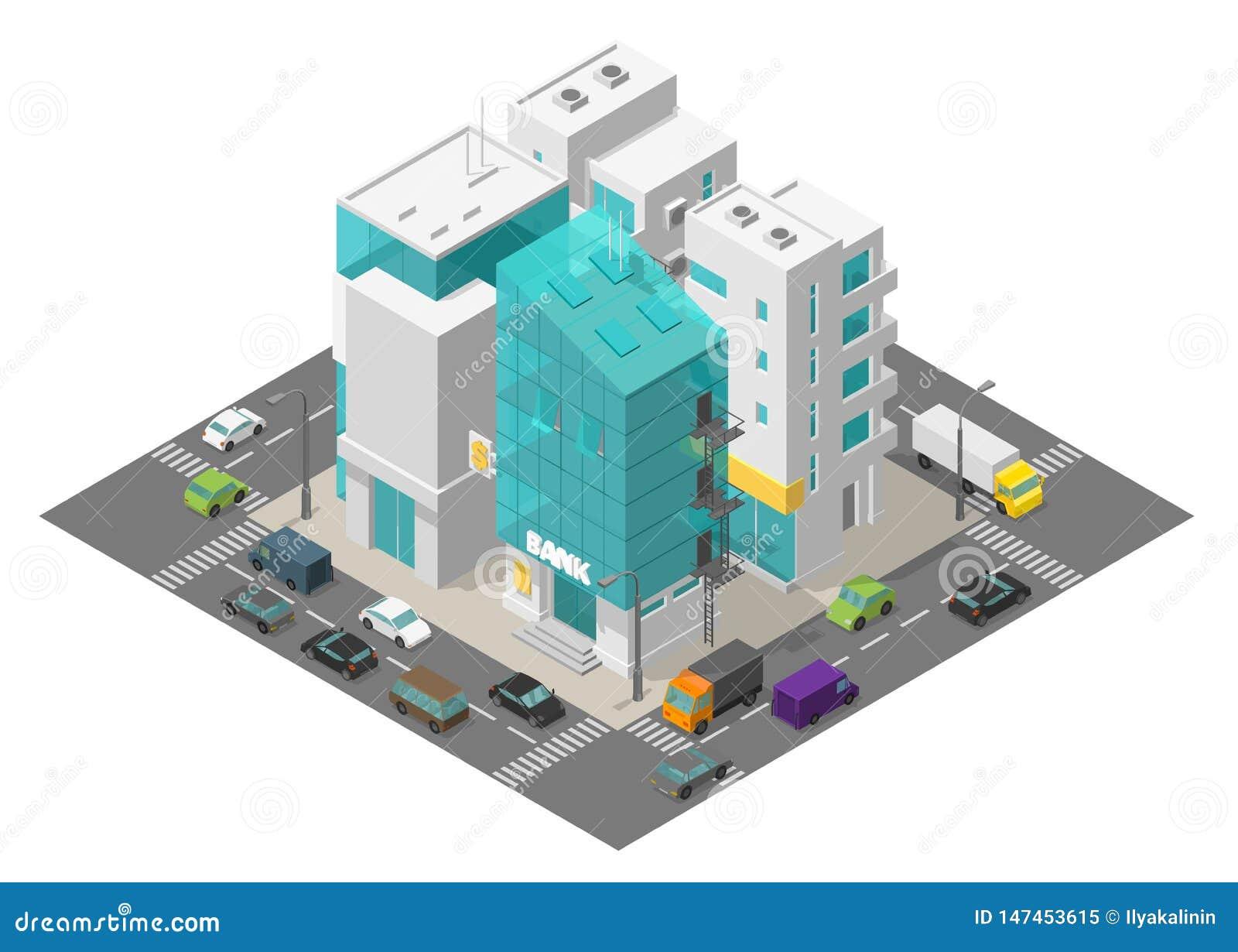 Het districtskwart van de stadsstraat Isometrische stad en weg rond 3d auto sverkeer en gebouwen Bank de flats van de de bouwreek