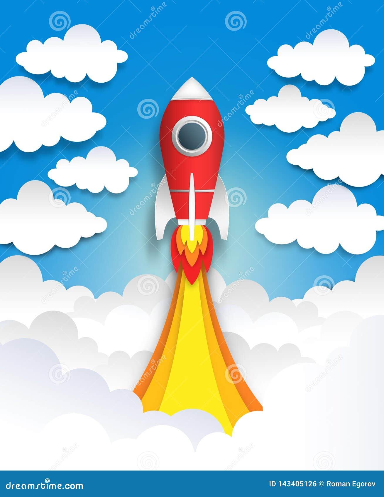 Het document sneed raket De origami plaatst kunst, de vlakke kunst van de beeldverhaalpastelkleur met wolken en ruimteschip, veel