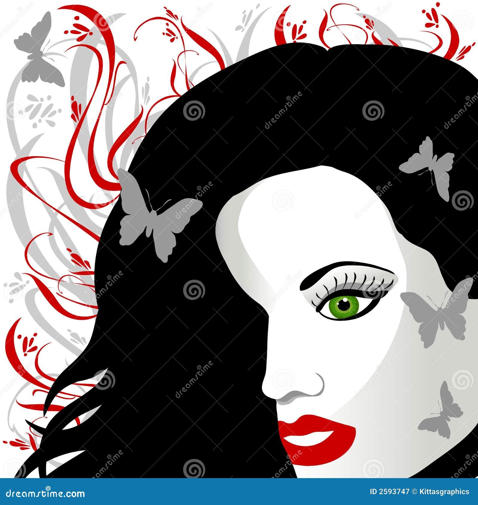 Het donkere Groene Eyed Wijfje van het Haar